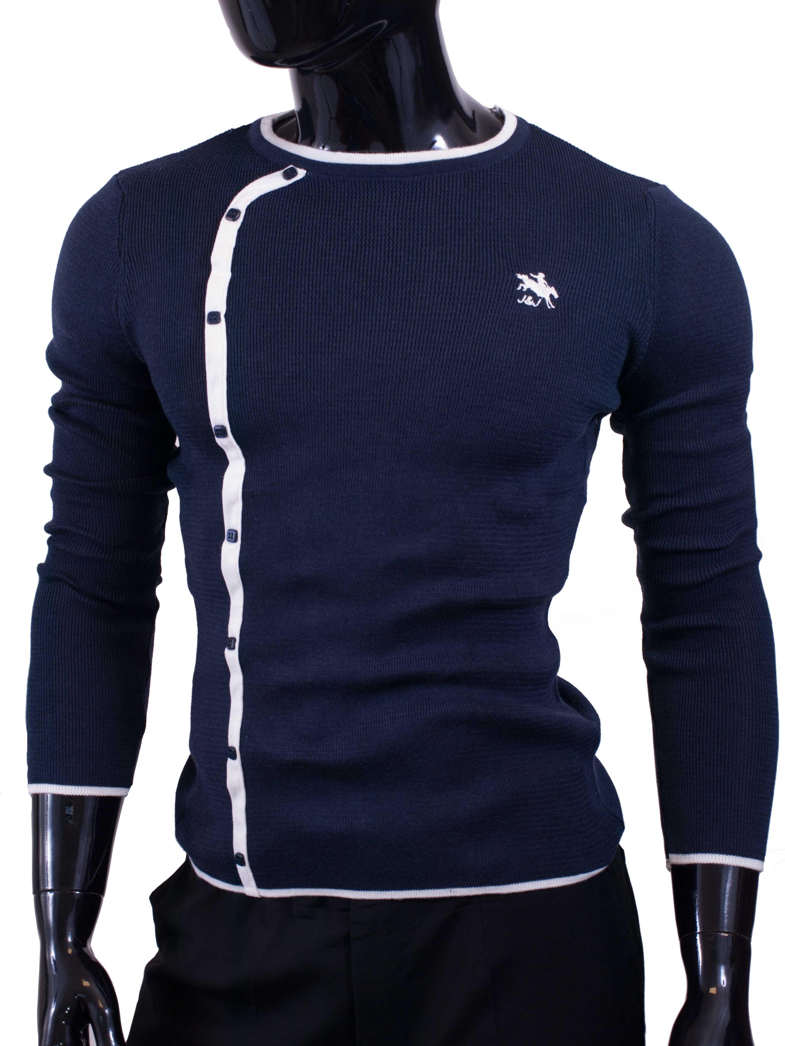 Pánský svetr Jesse James slim fit tmavě modrý
