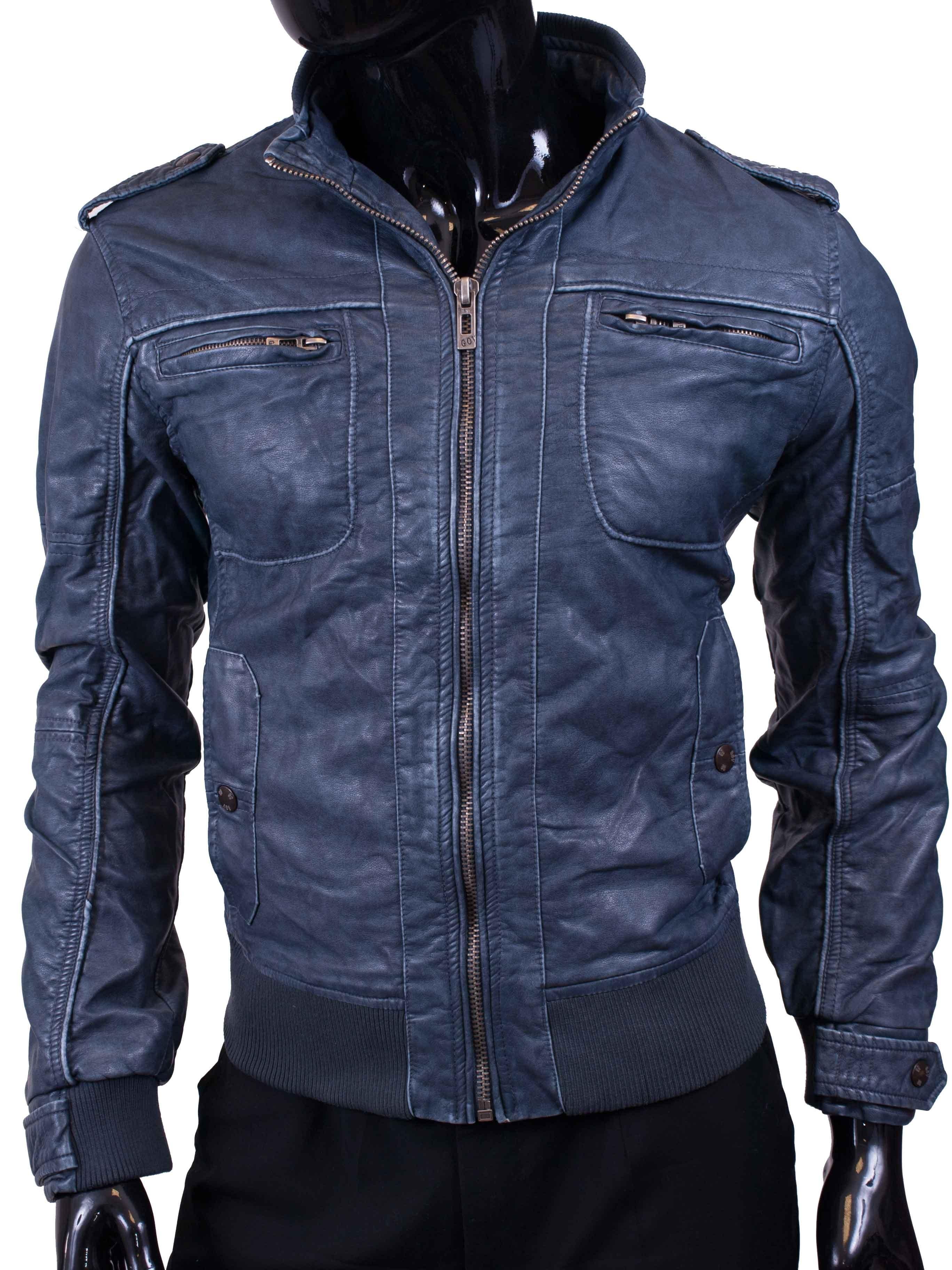 Pánská bunda koženková jeansová