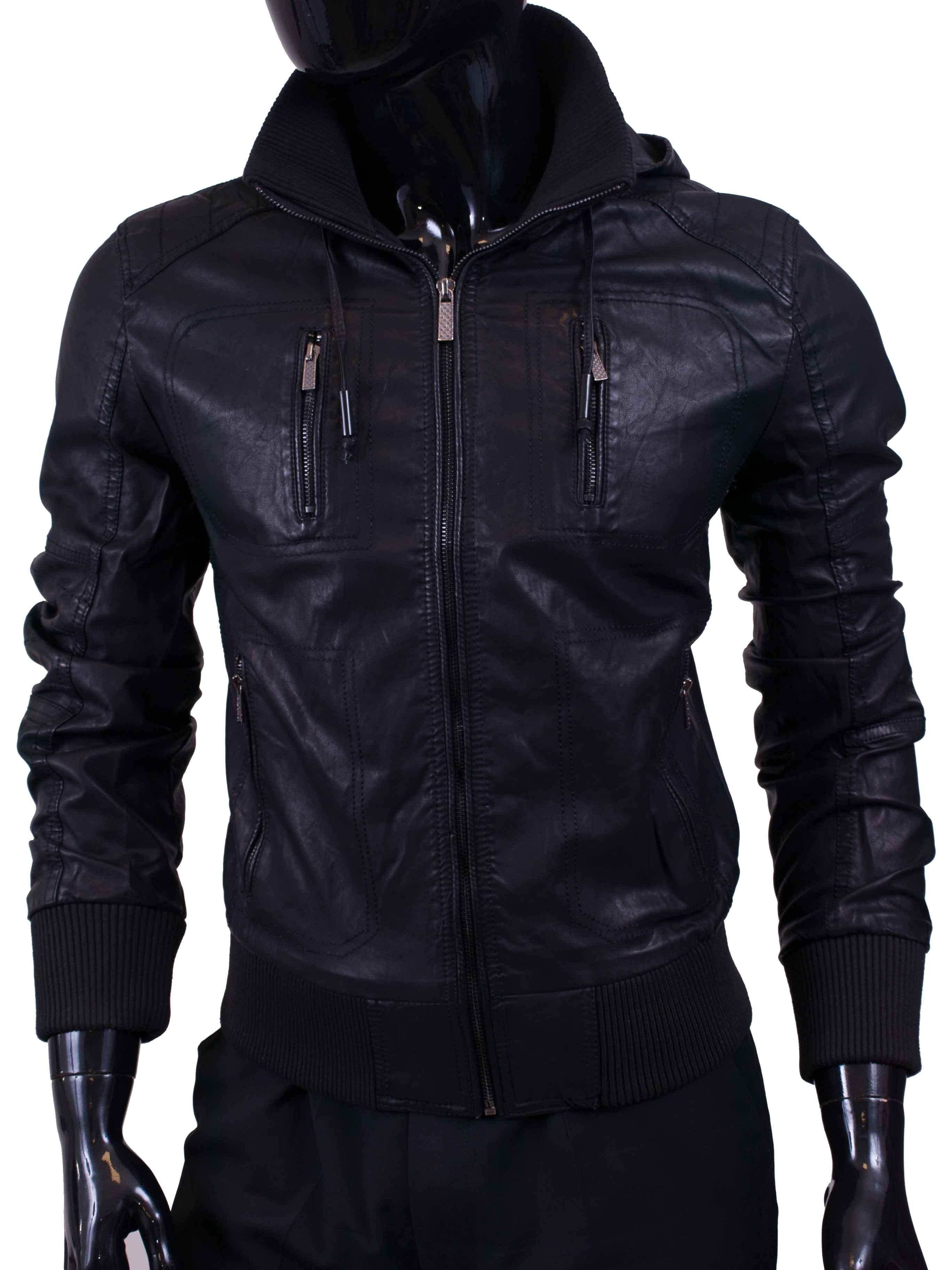 Pánská bunda koženková černá se zipy a kapucí
