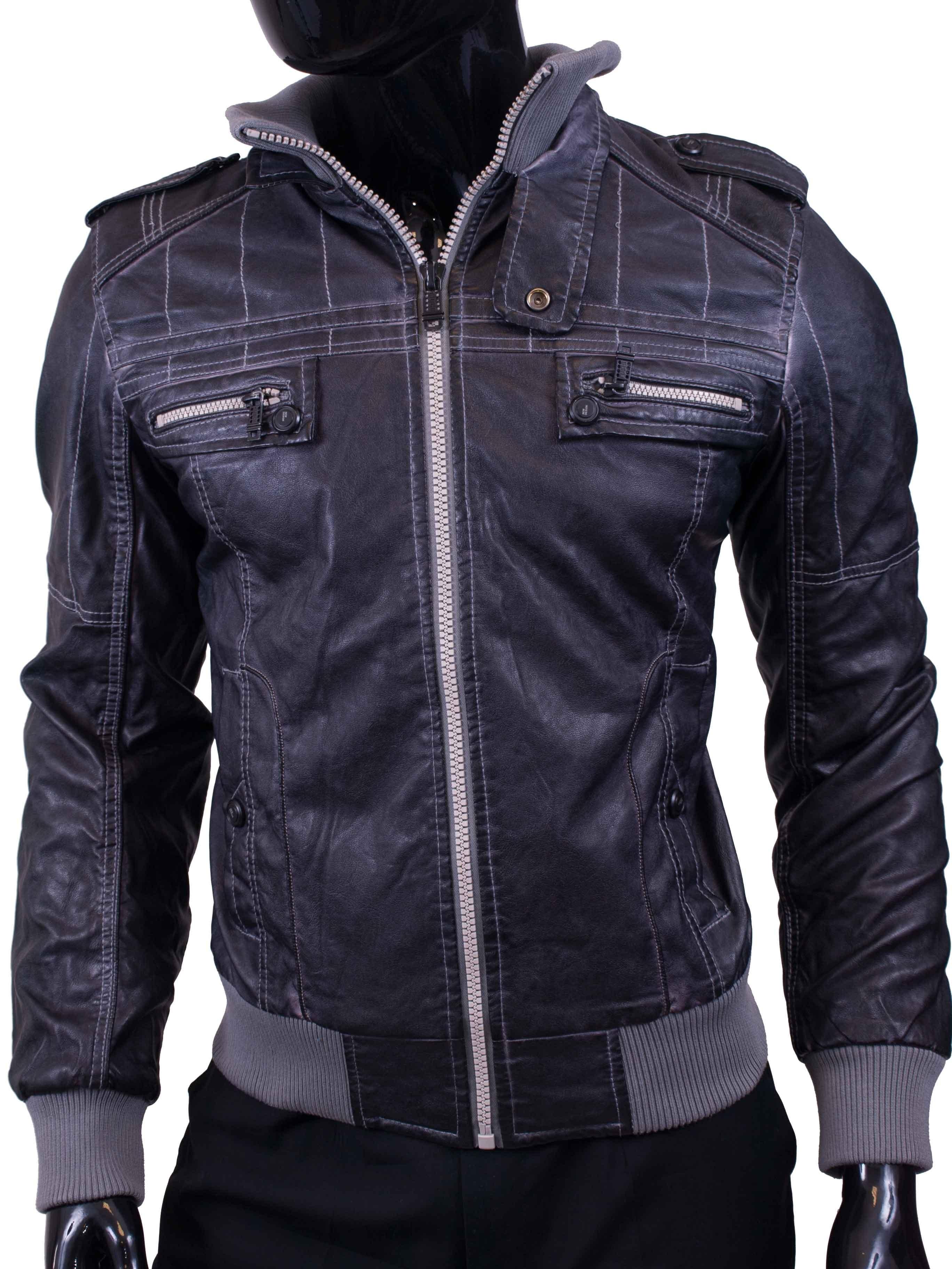 Pánská bunda koženková grafitová s kapucí