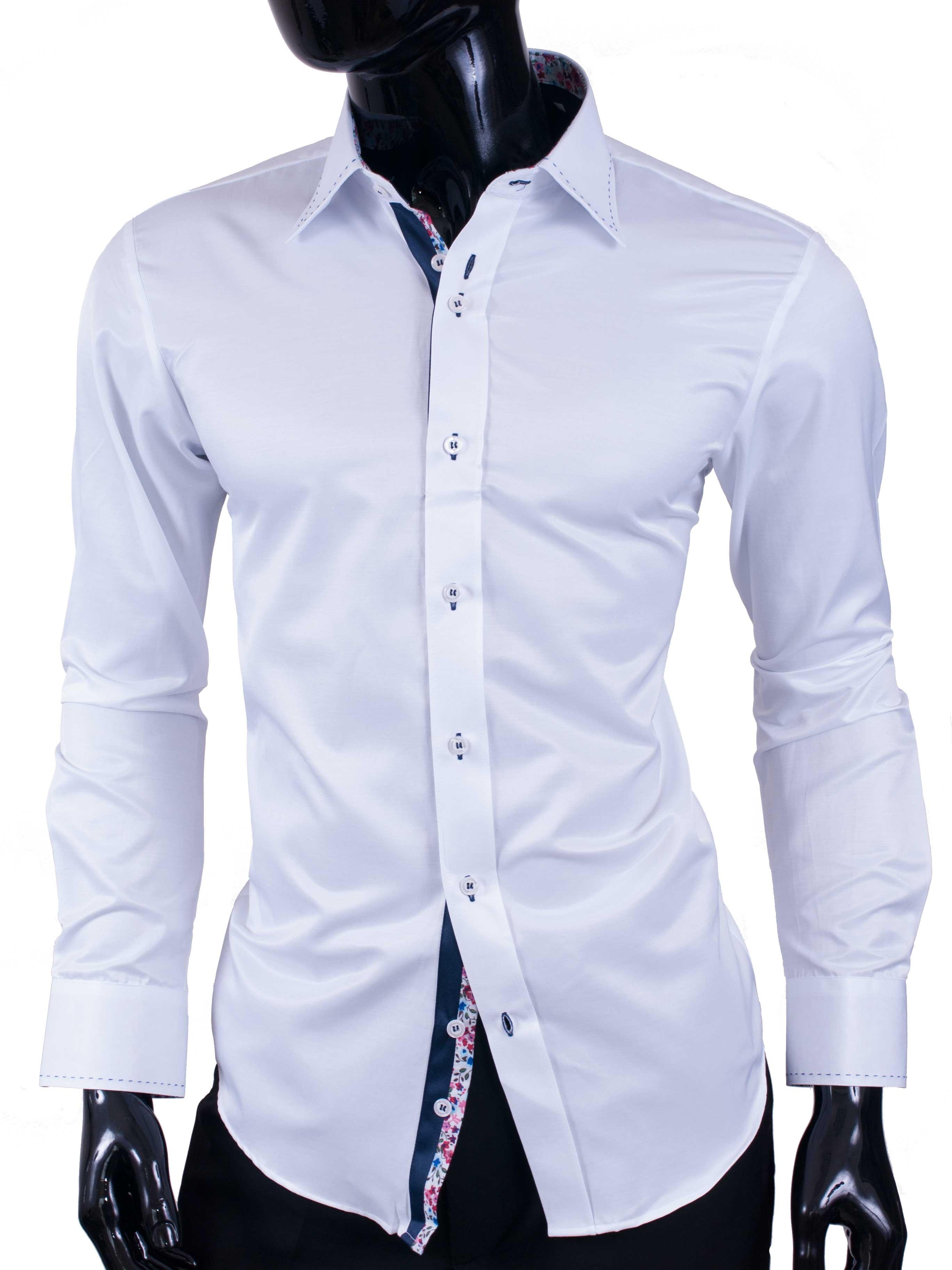 Pánská košile Adriano bílá lesklá