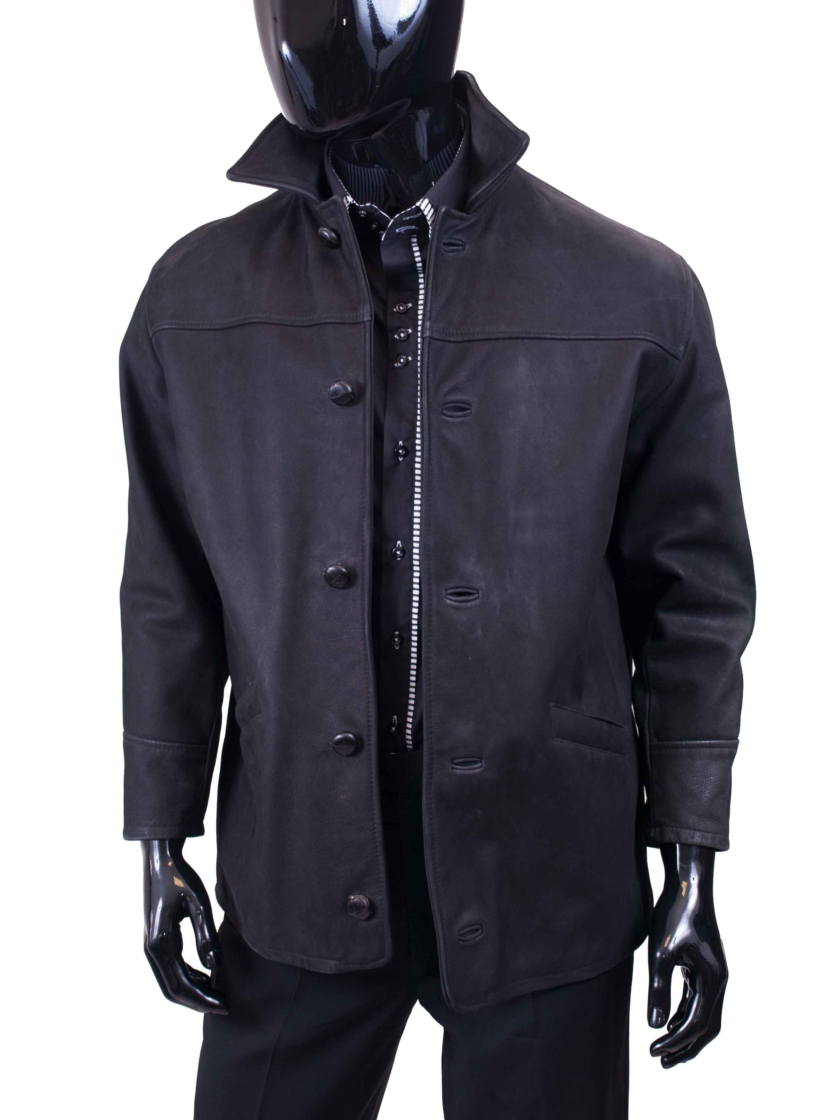 Pánská kožená bunda (kabát) černá