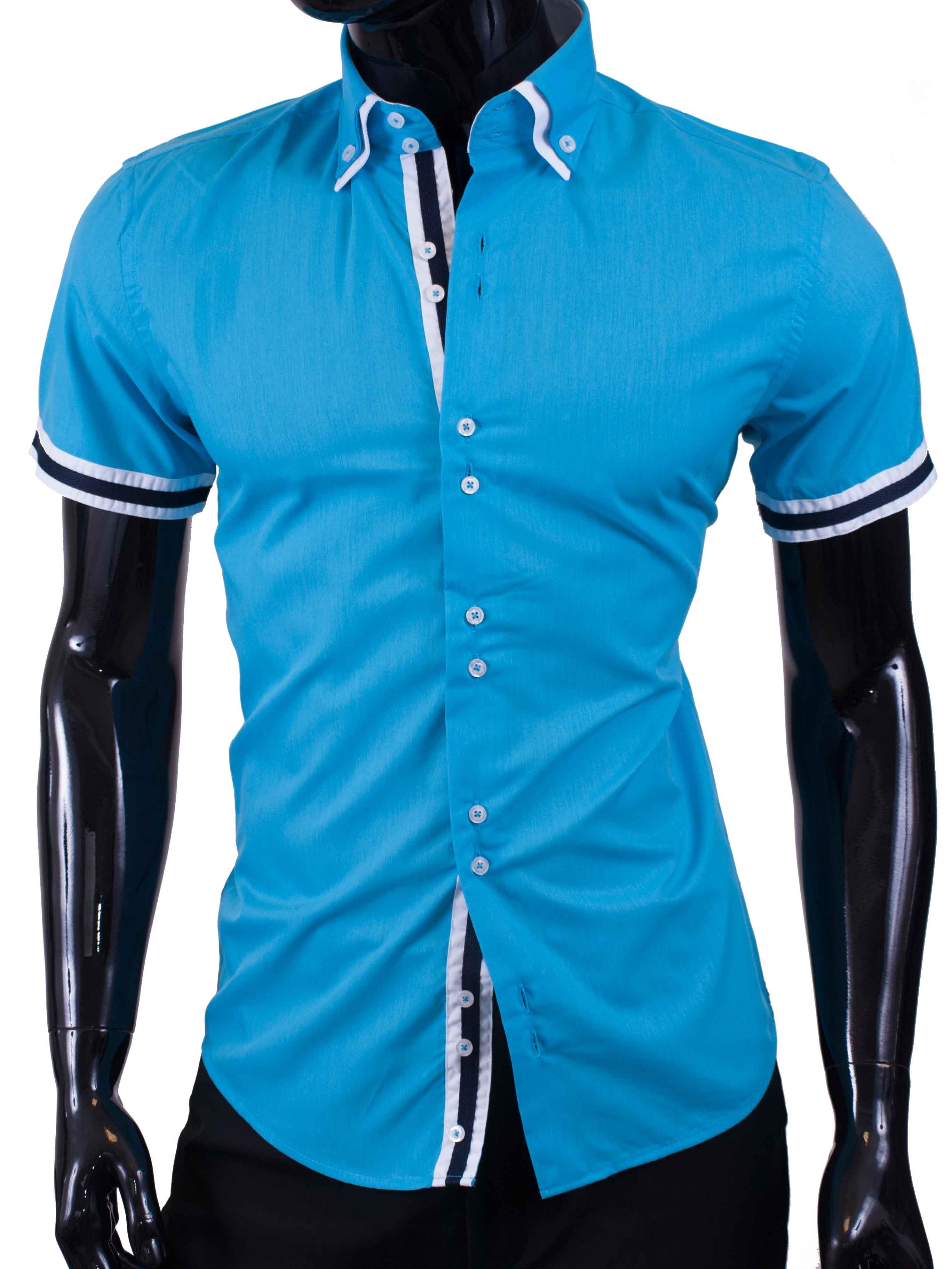 Pánská košile s krátkým rukávem tyrkysová