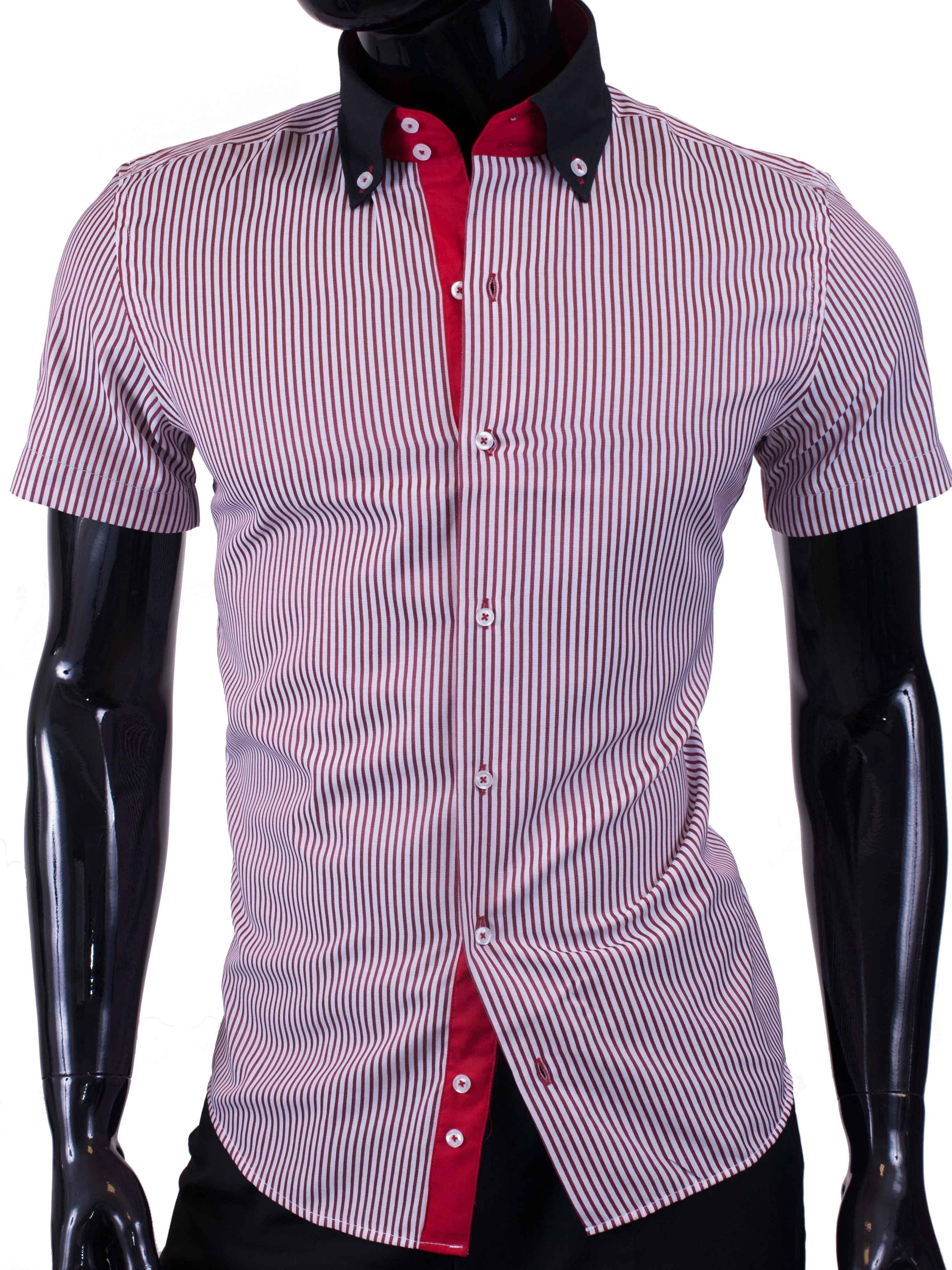 Pánská košile s krátkým rukávem proužkovaná červená