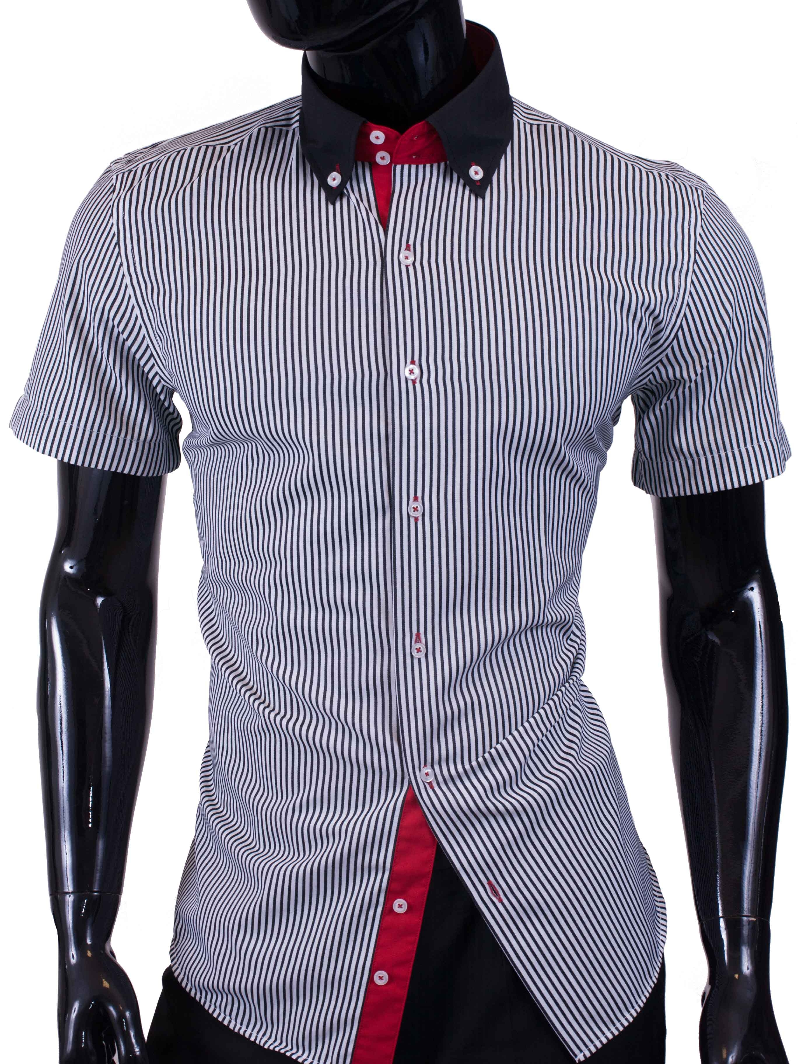 Pánská košile s krátkým rukávem proužkovaná