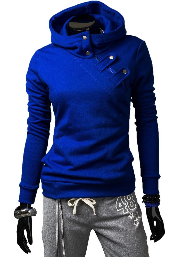 Dámské mikiny - modrá se zipem a cvočky