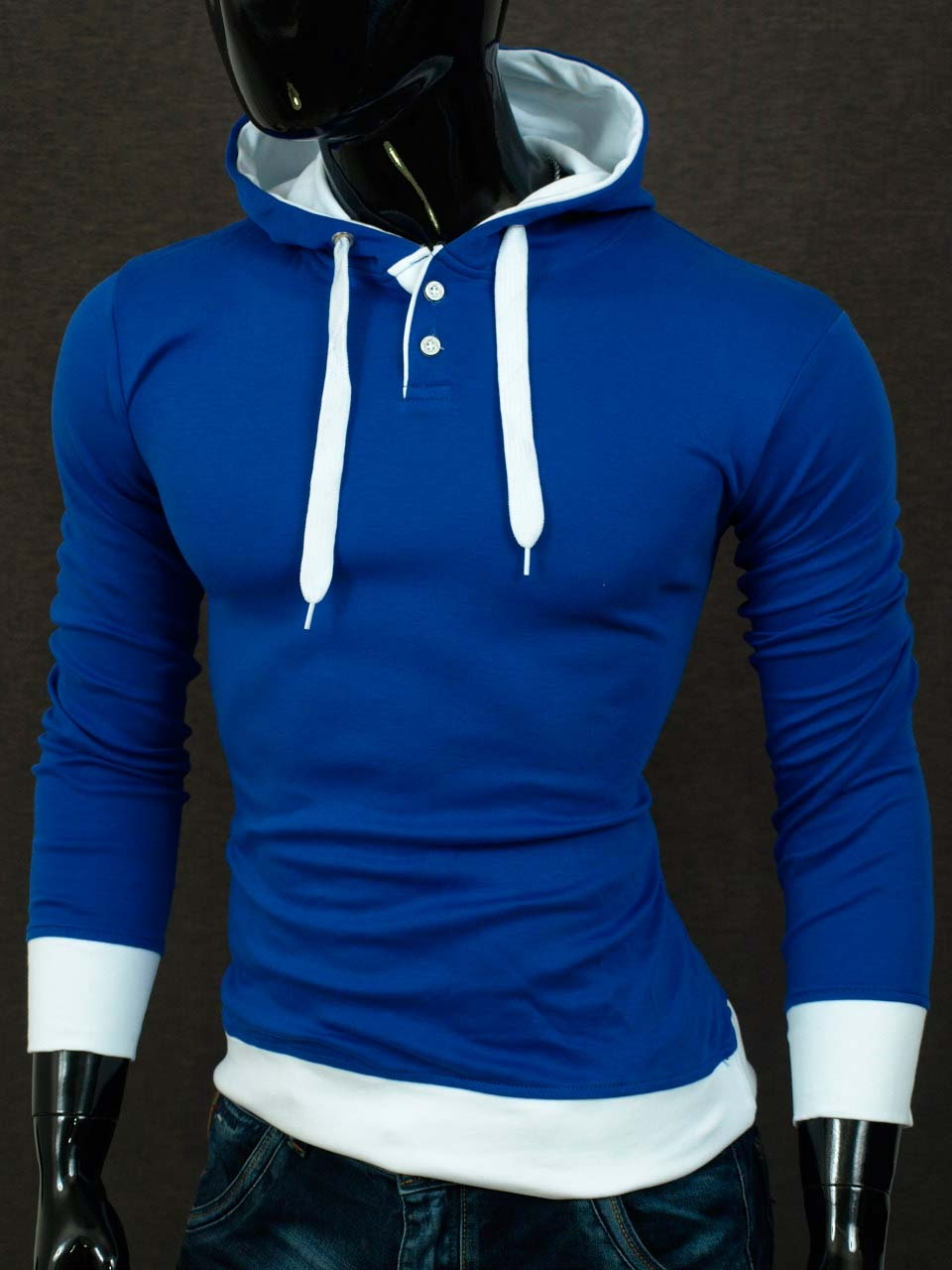 Pánská polomikina s kapucí modrá