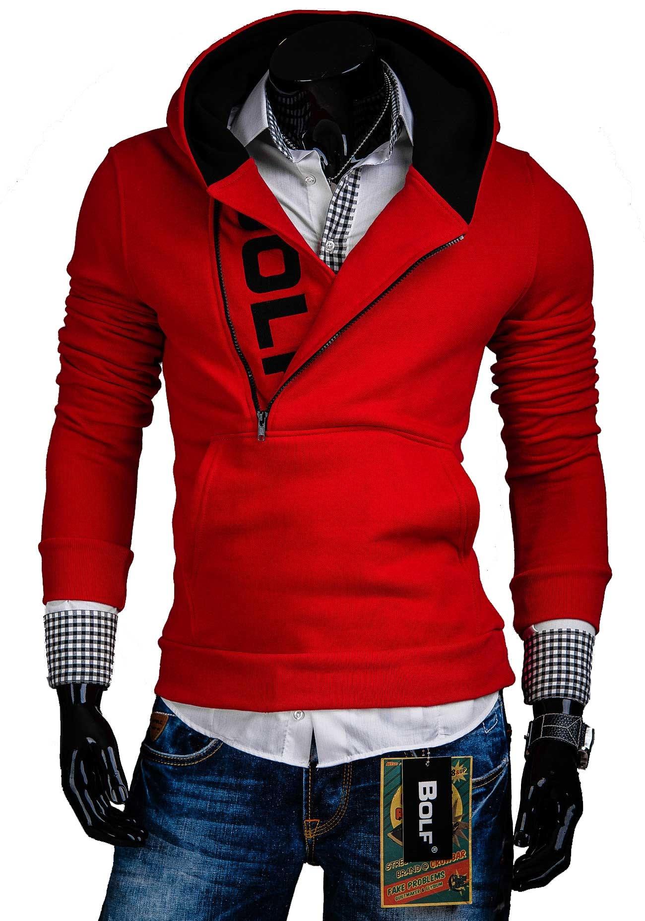Pánská mikina červené s kapucí