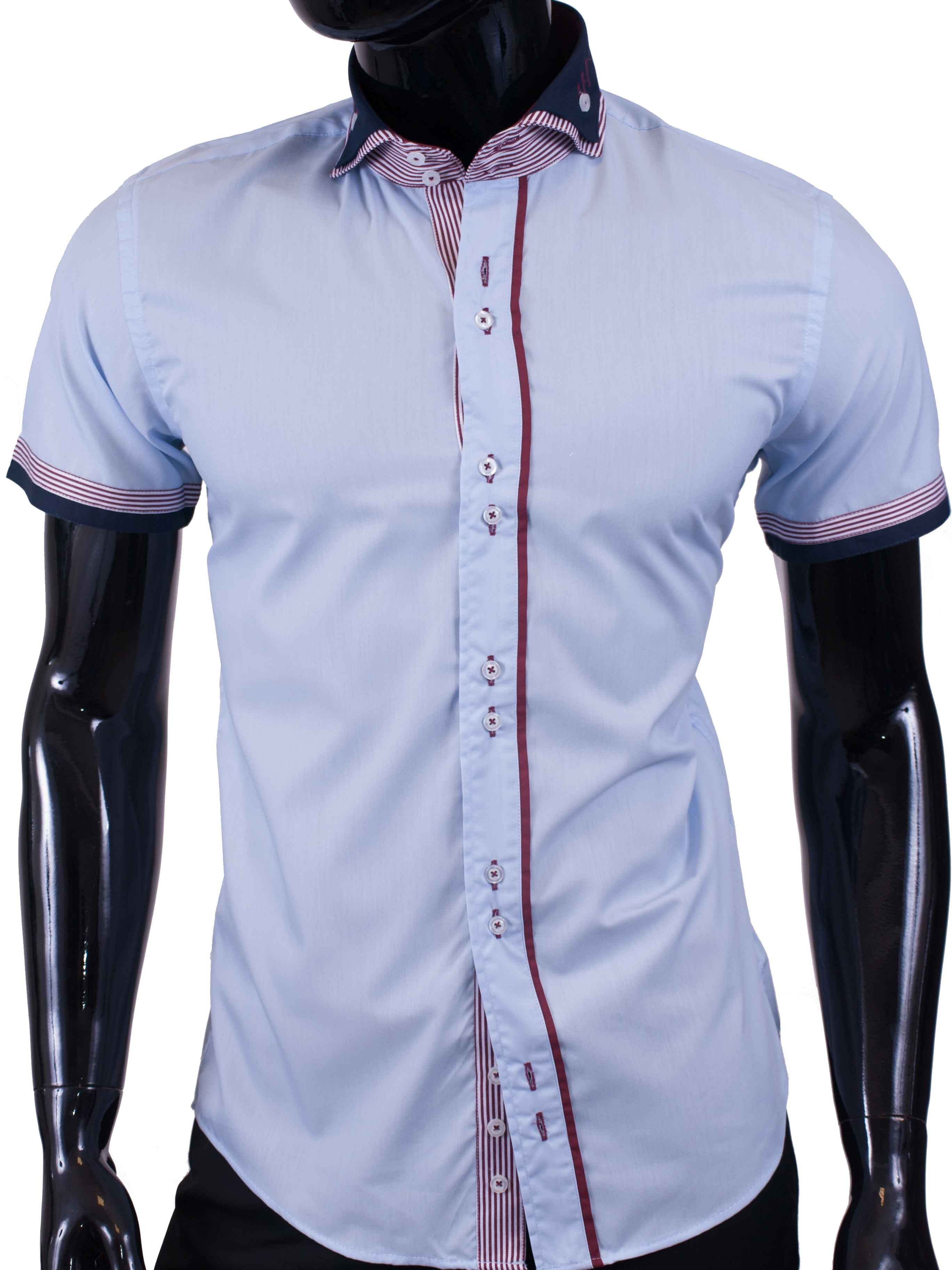 Pánská košile s krátkým rukávem světle modrá s červeným límečkem