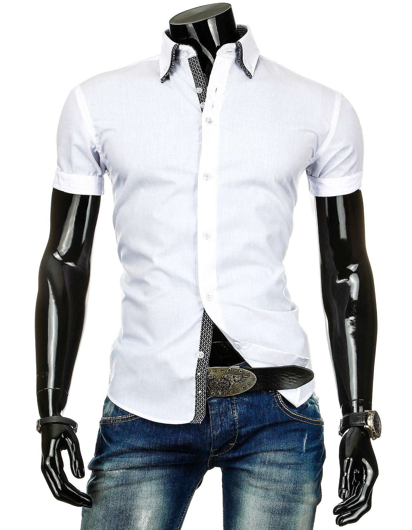 Pánská košile BOSTON s krátkým rukávem bílá a dvojitým límečkem
