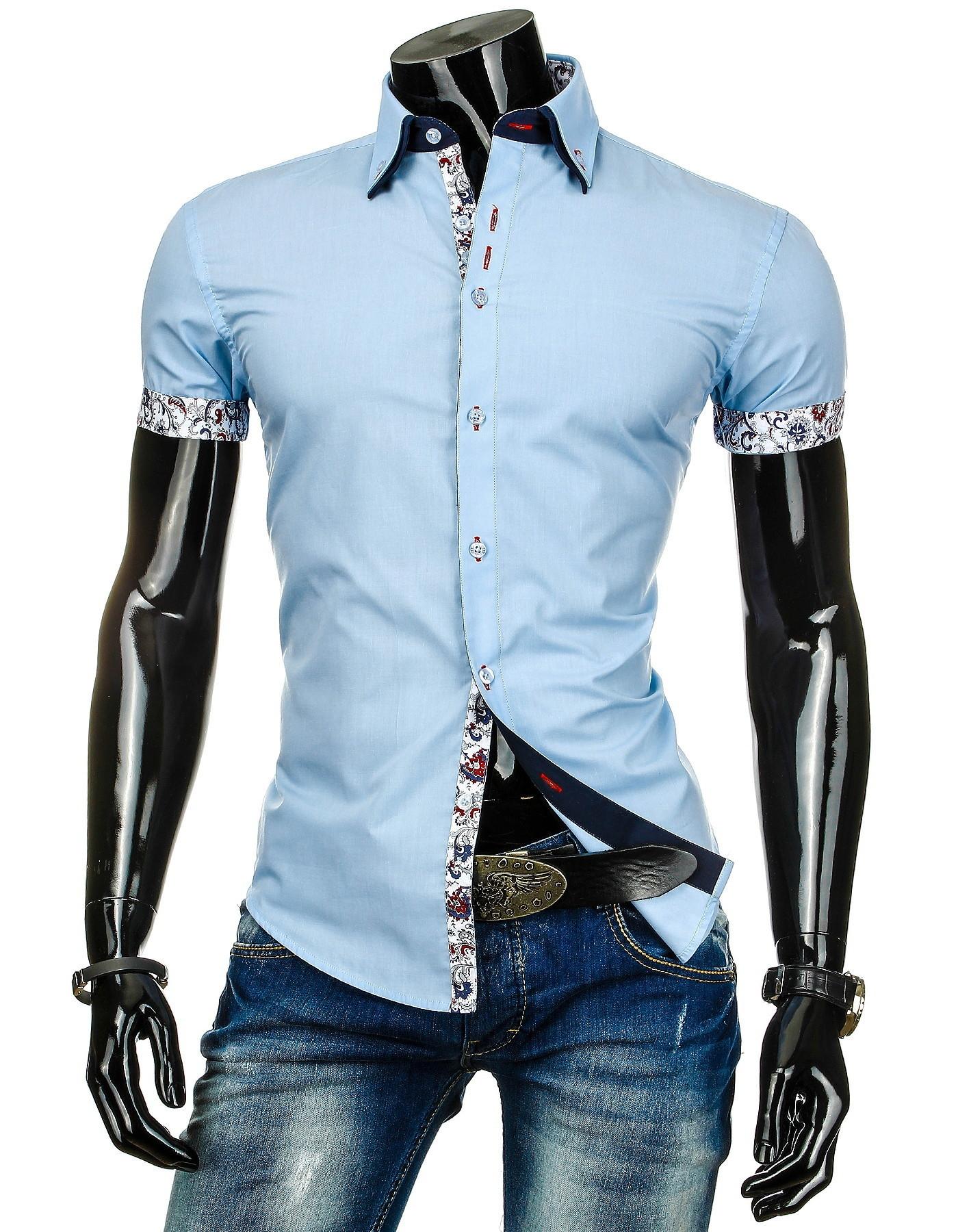 Pánská košile BOSTON s krátkým rukávem světle modrá