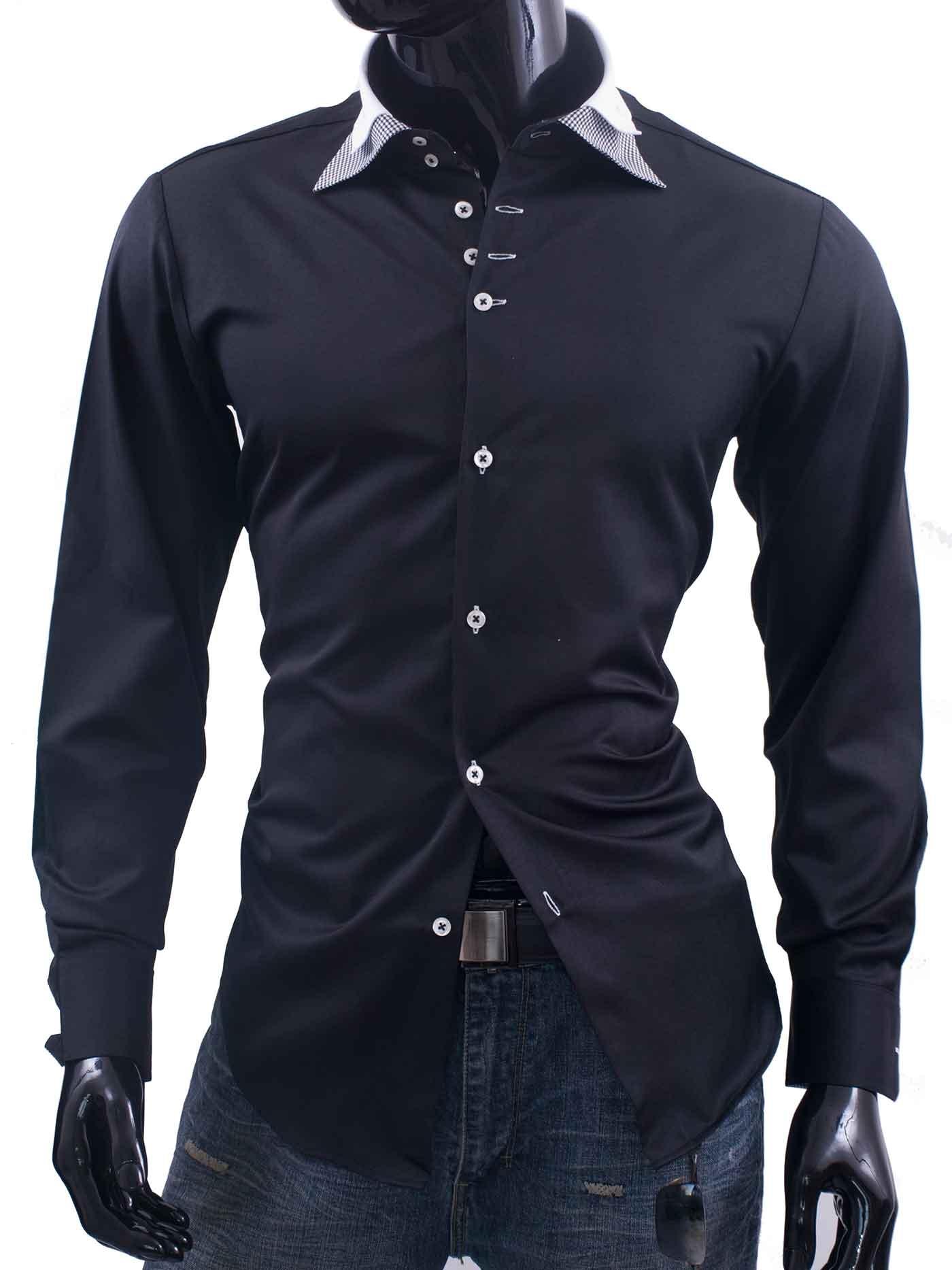 Pánská košile Adriano černá s károvaným límečkem