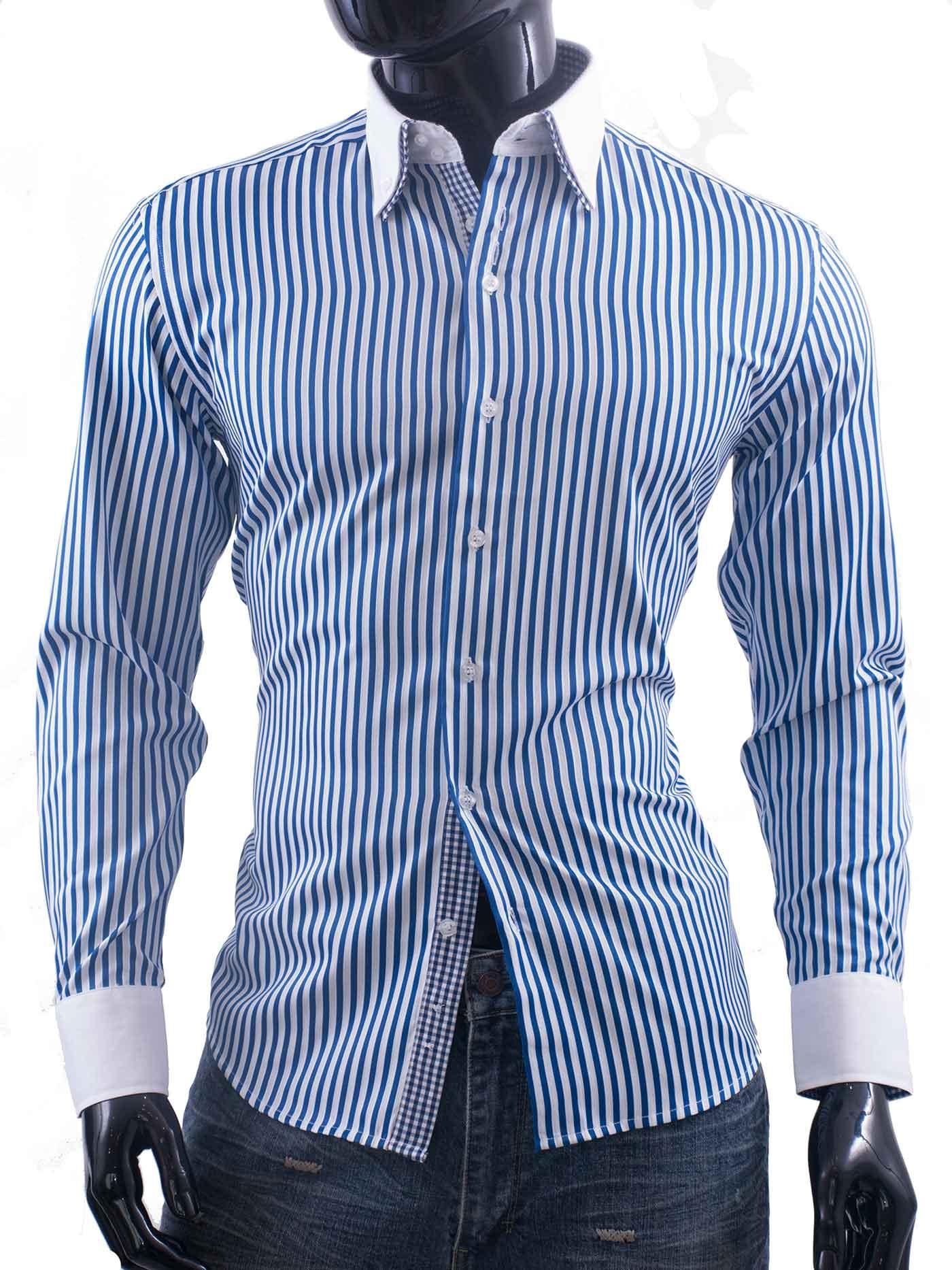 Modrobílá proužkovaná pánská košile