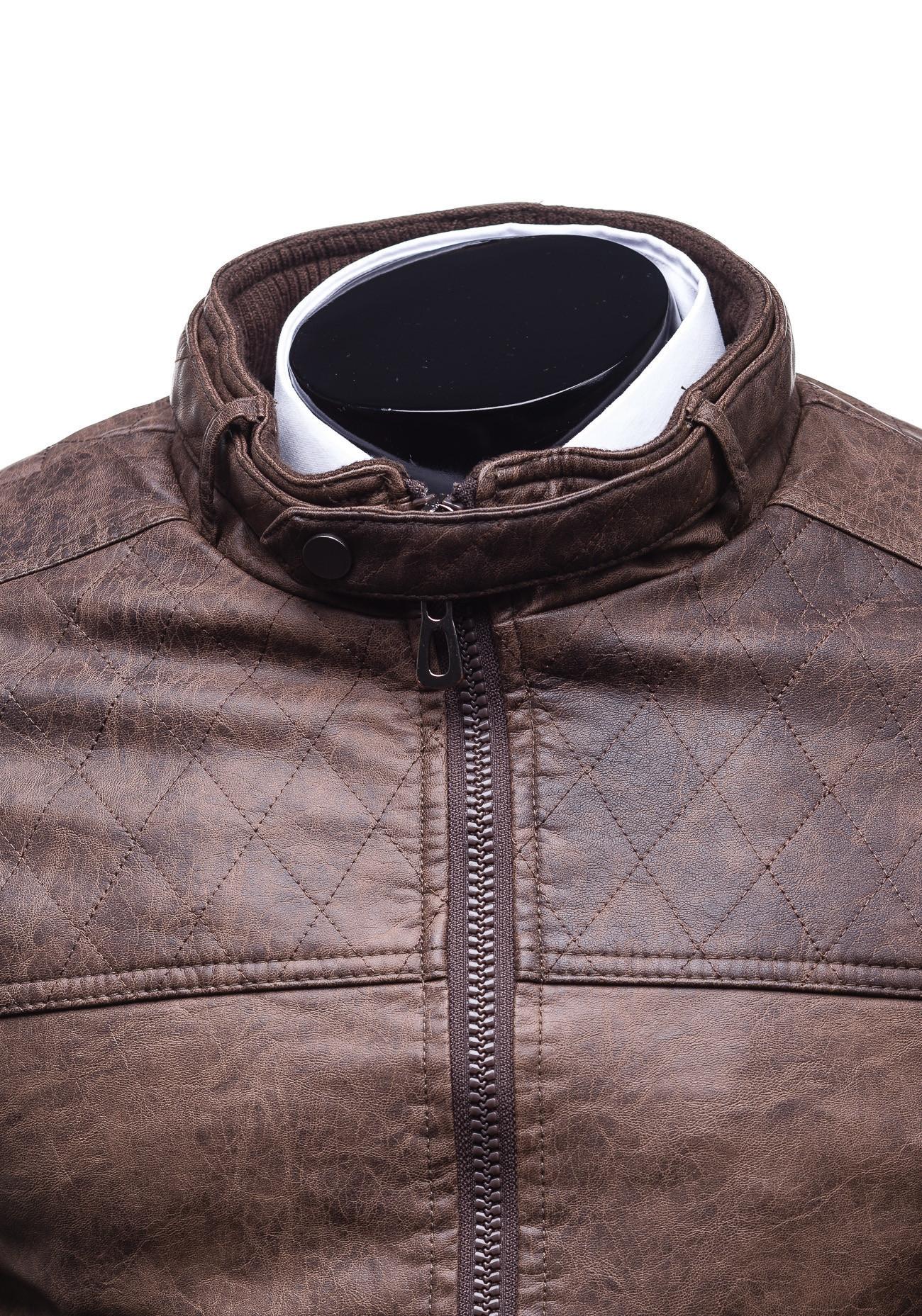 Pánská hnědá koženková bunda