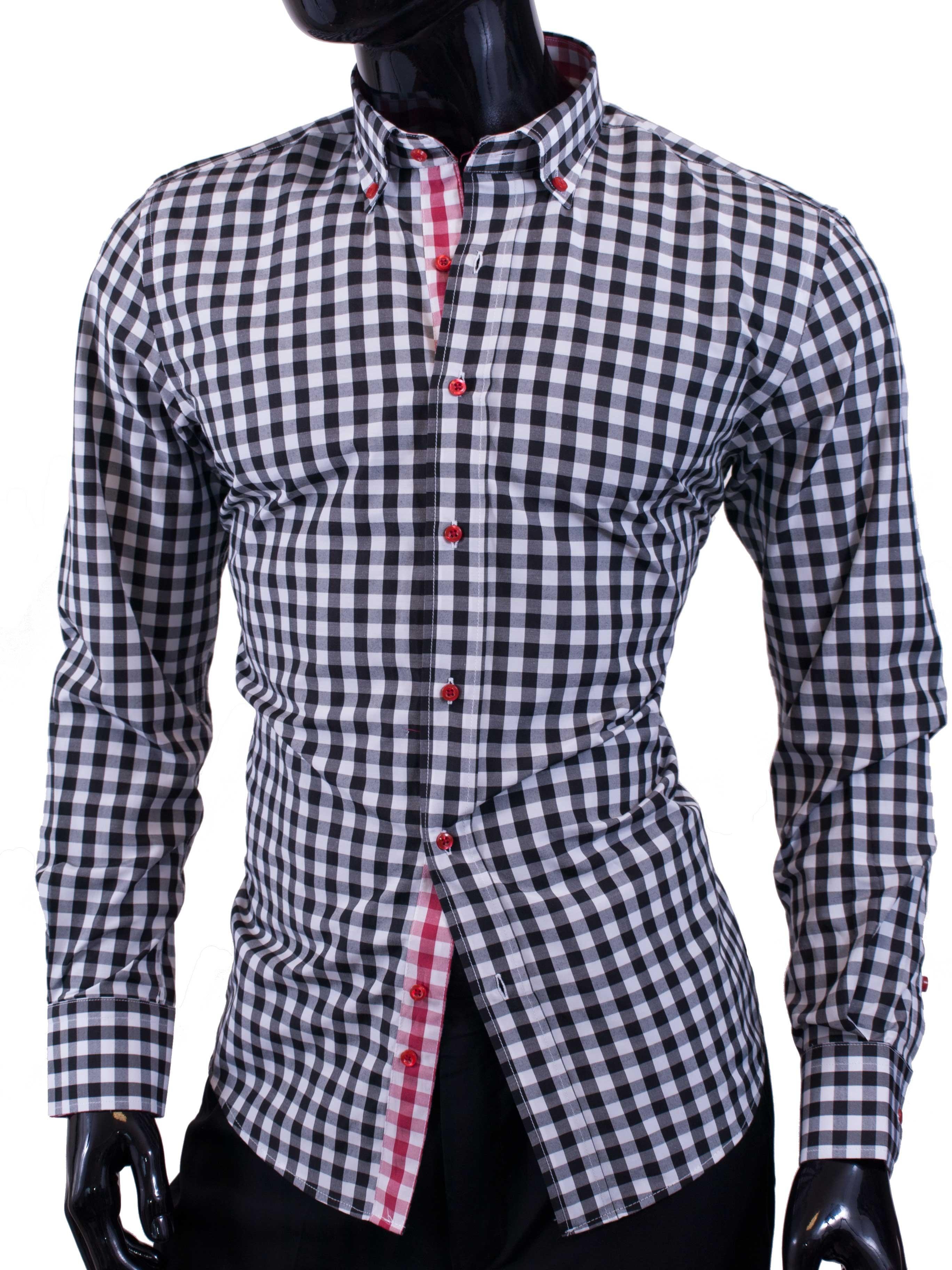 Pánská košile Egoman černě károvaná