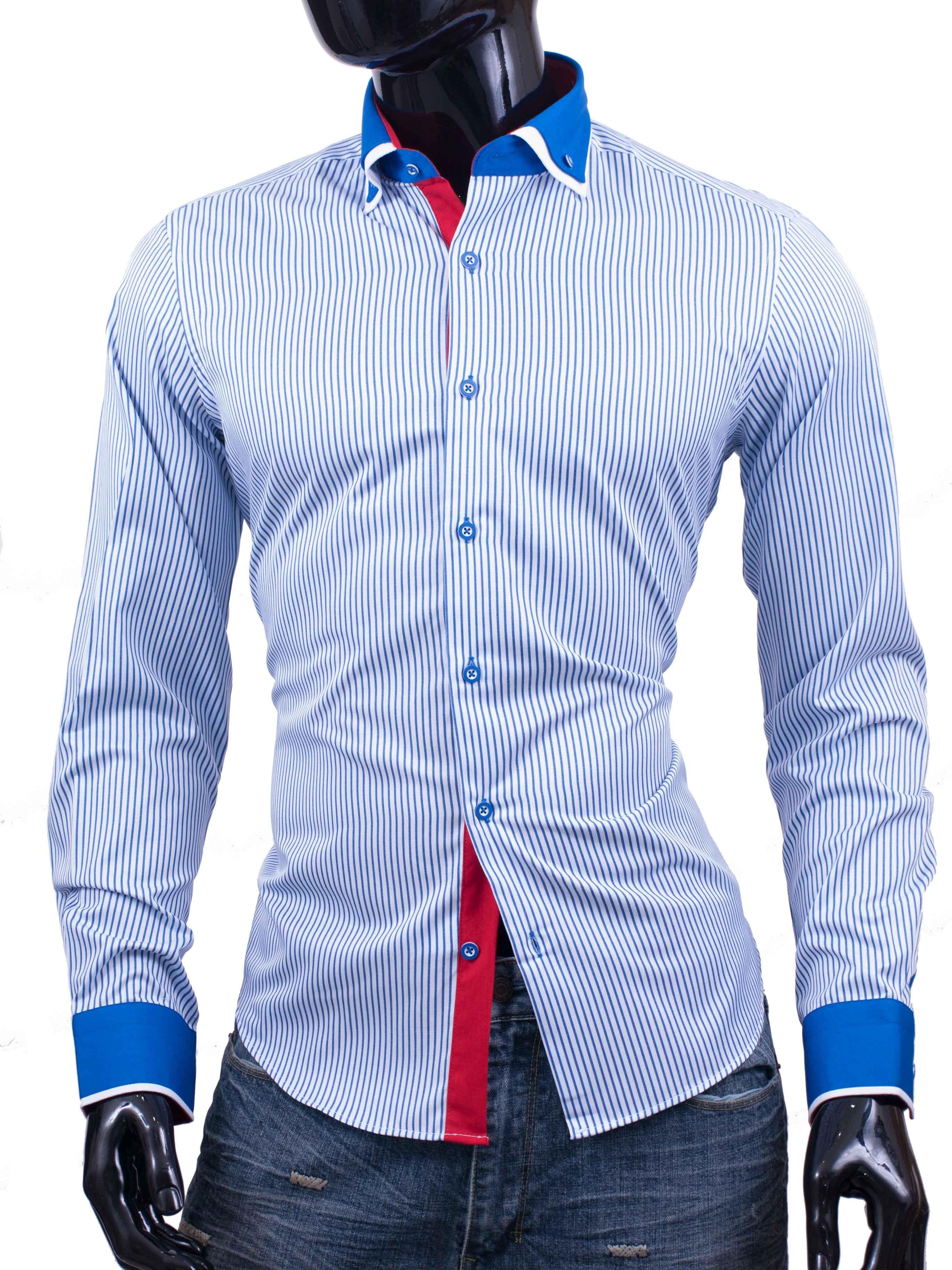 Košile Bragga Hill modře proužkovaná