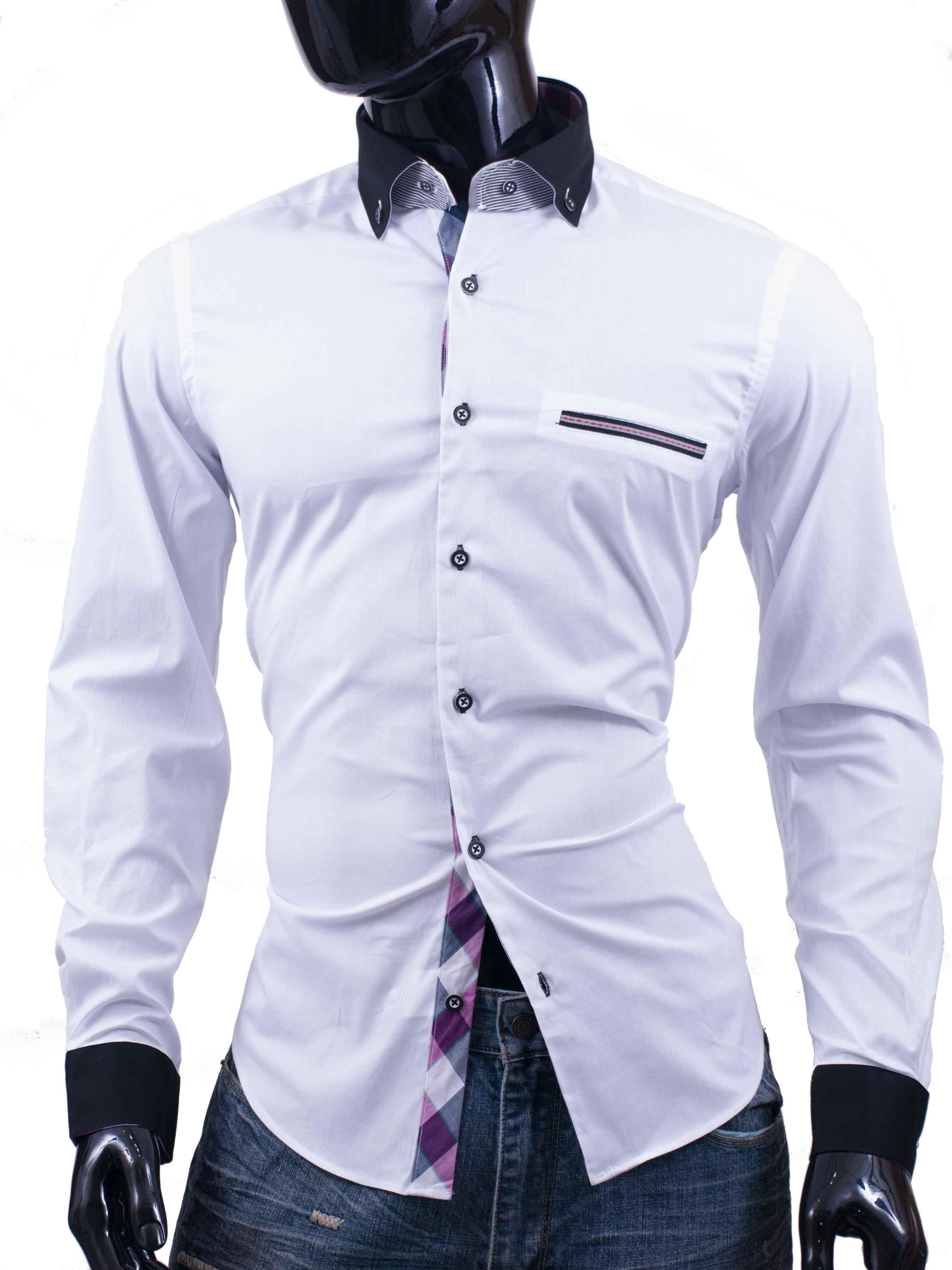 Košile Bragga Hill bílá s černým límečkem