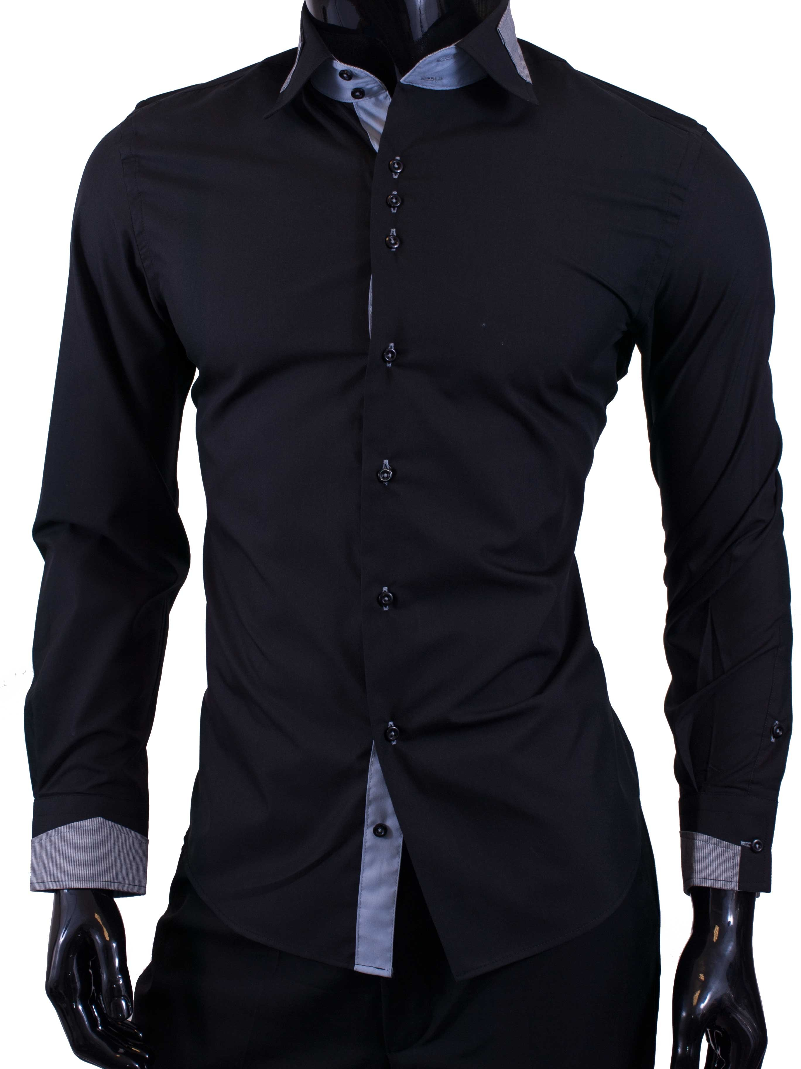 Pánská košile Egoman černá s modrými doplňky