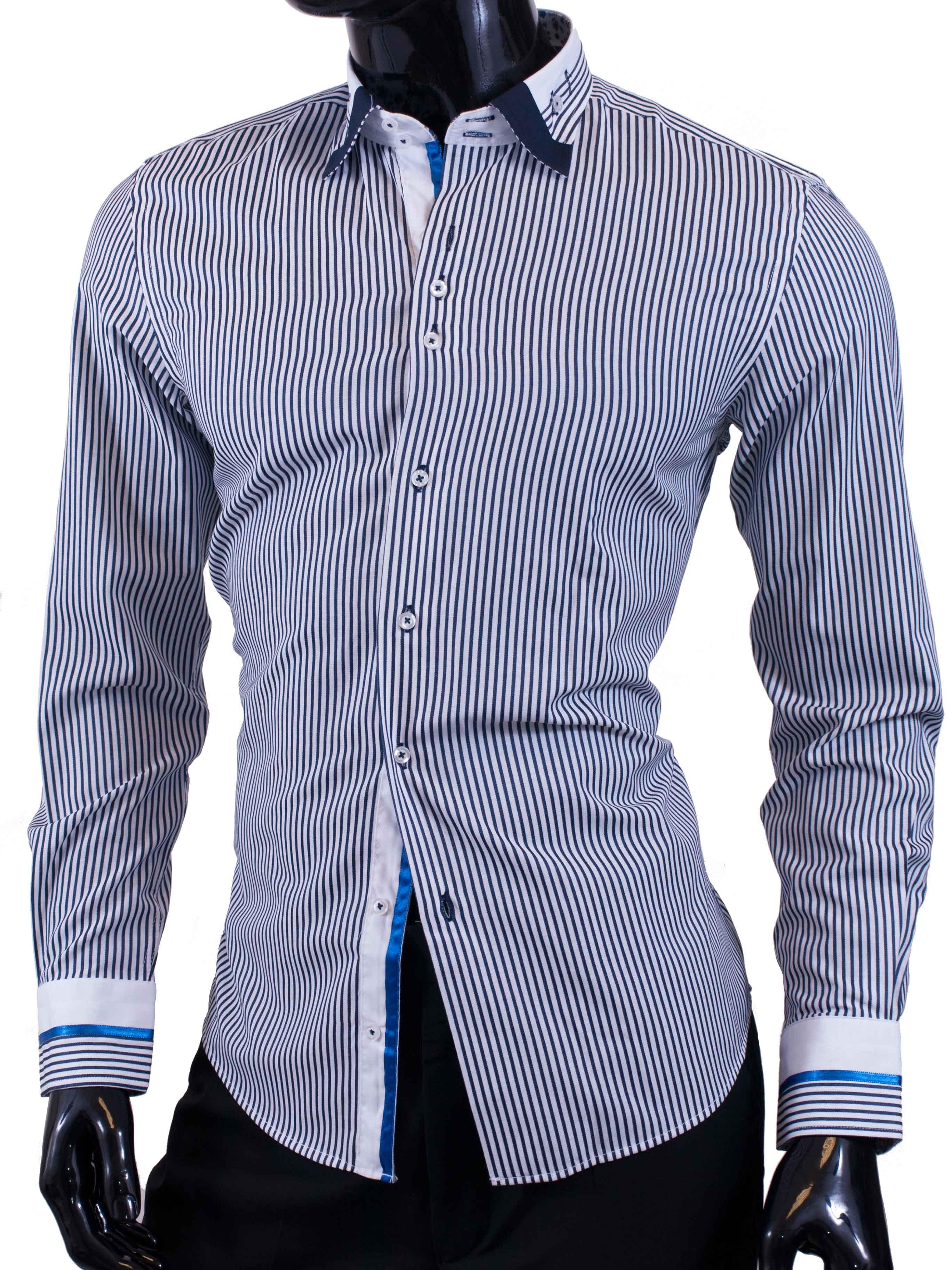 Pánská košile Egoman s tmavě modrými a bílými proužky