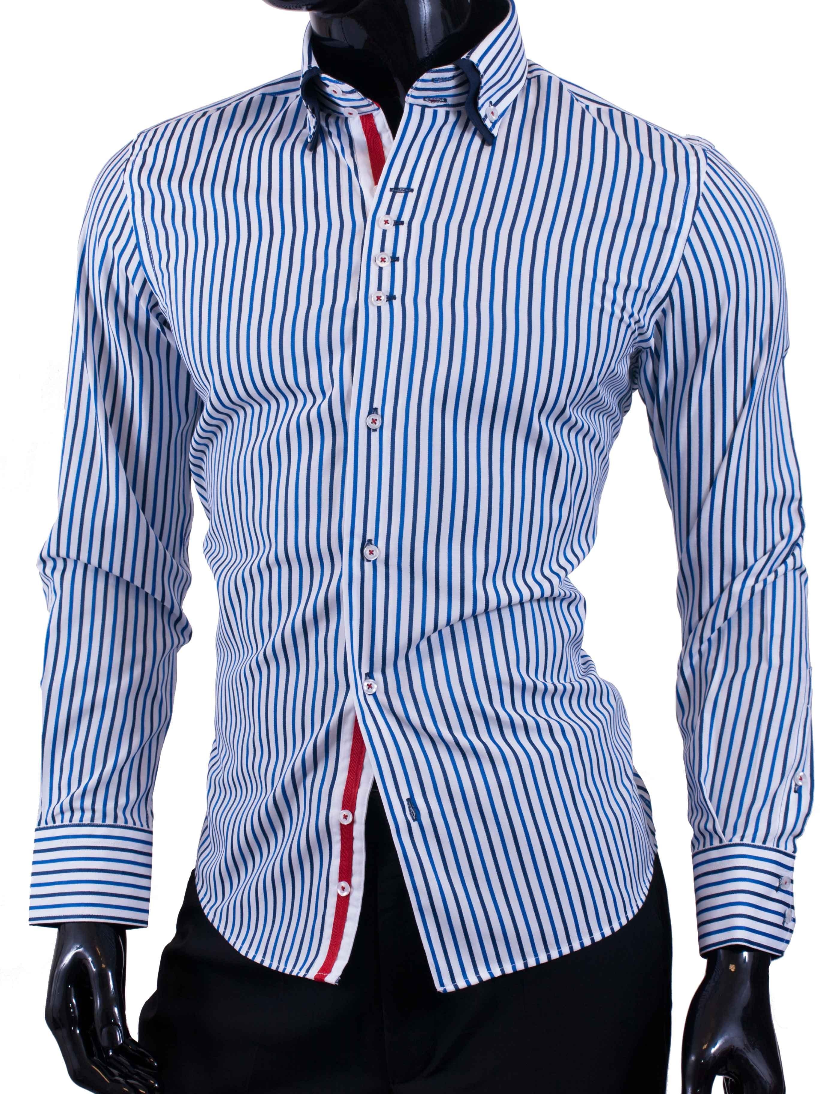 Pánská košile Egoman modře proužkovaná