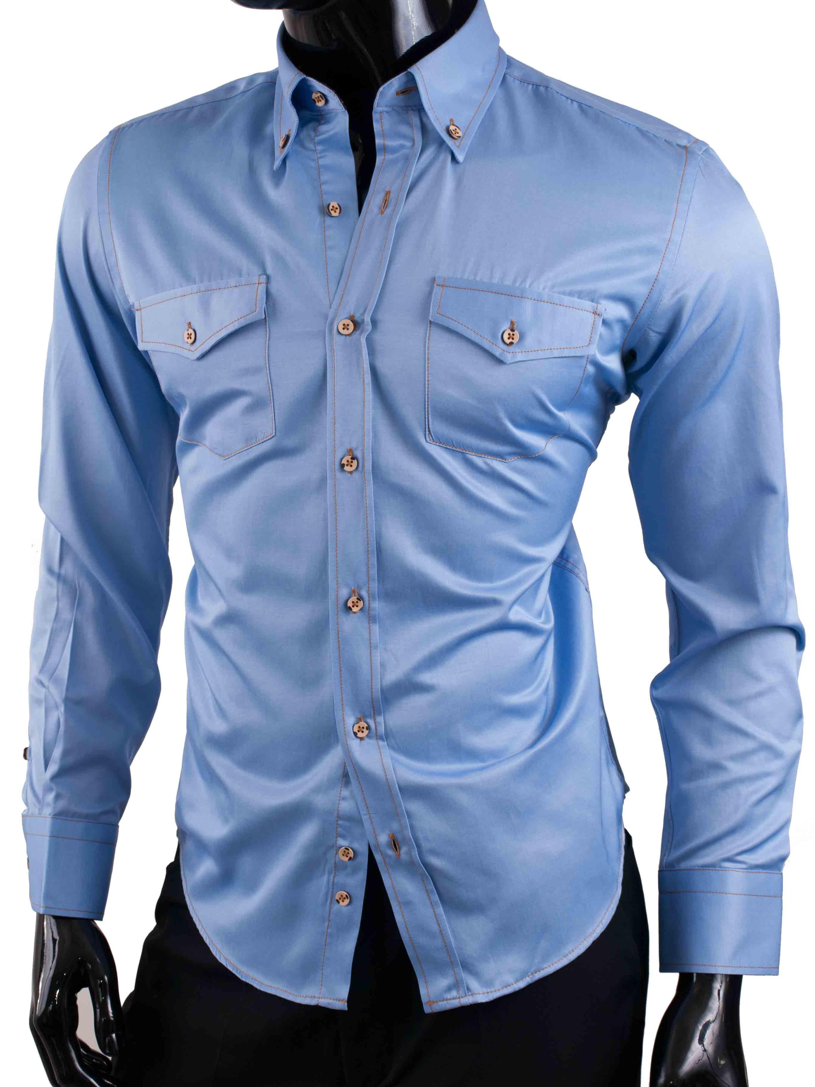 Pánská košile Egoman jeasnová světle modrá
