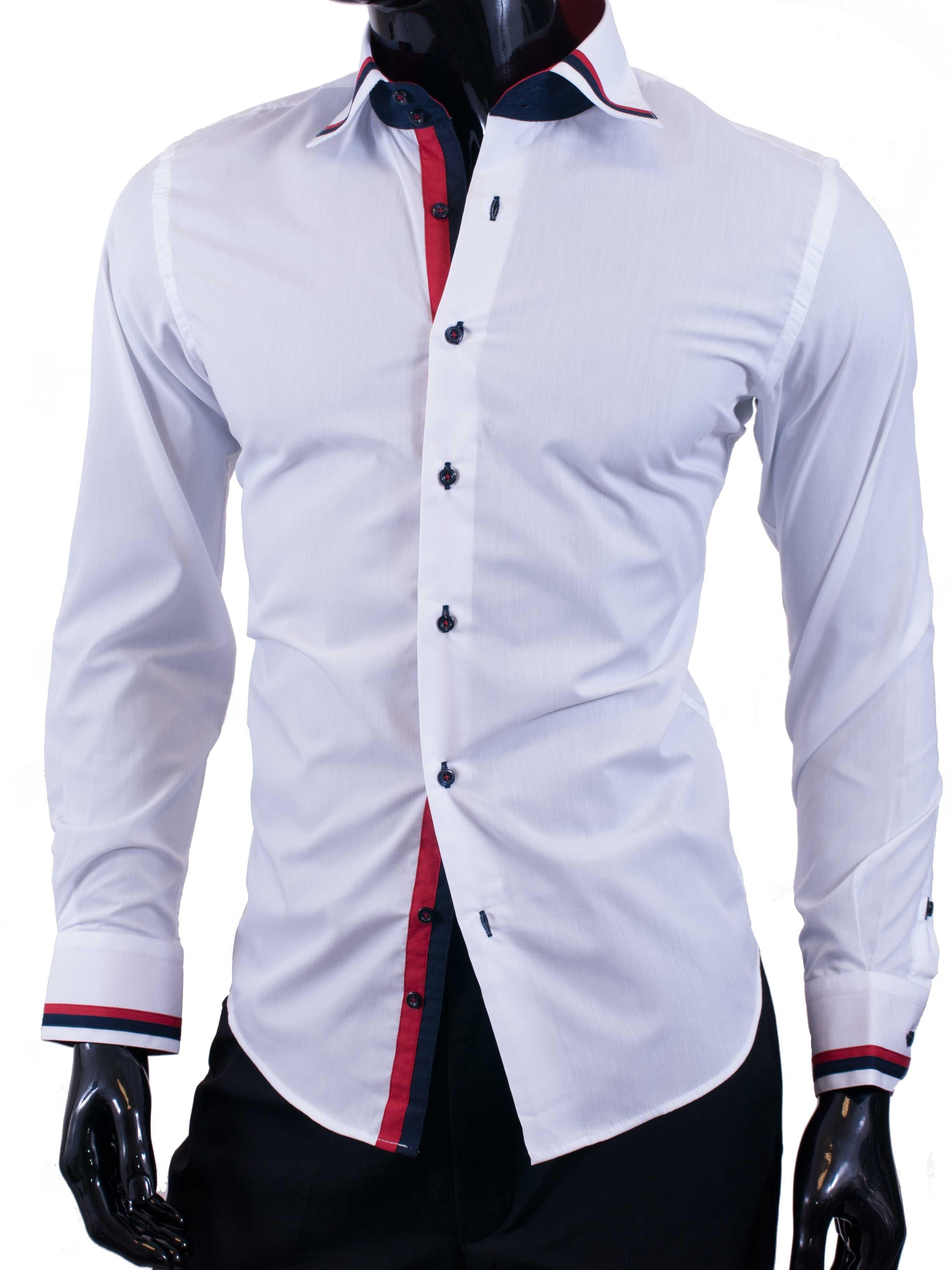 Pánské košile Egoman bílá s prvky modré a červené