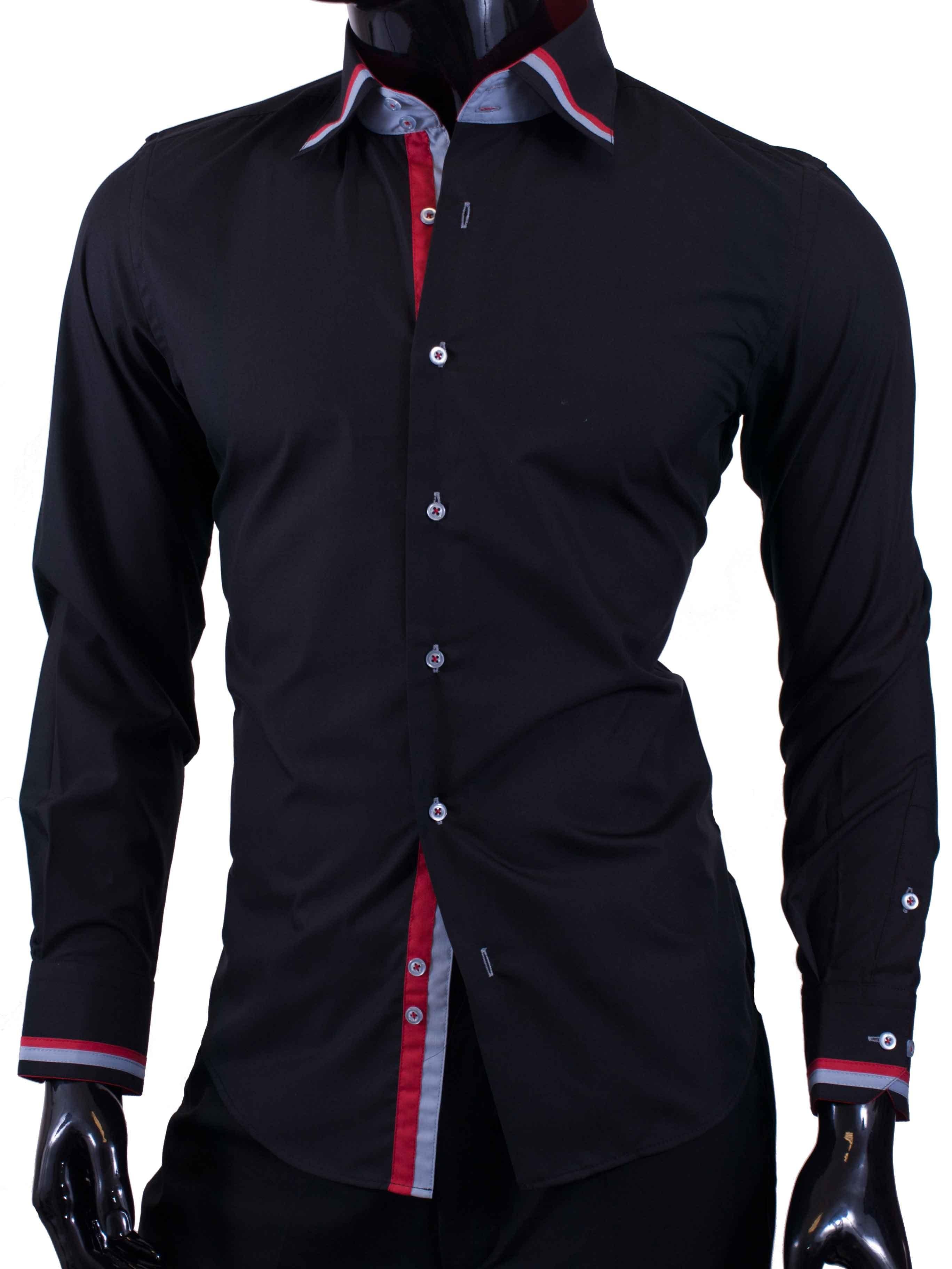Pánské košile Egoman černá s prvky modré a červené