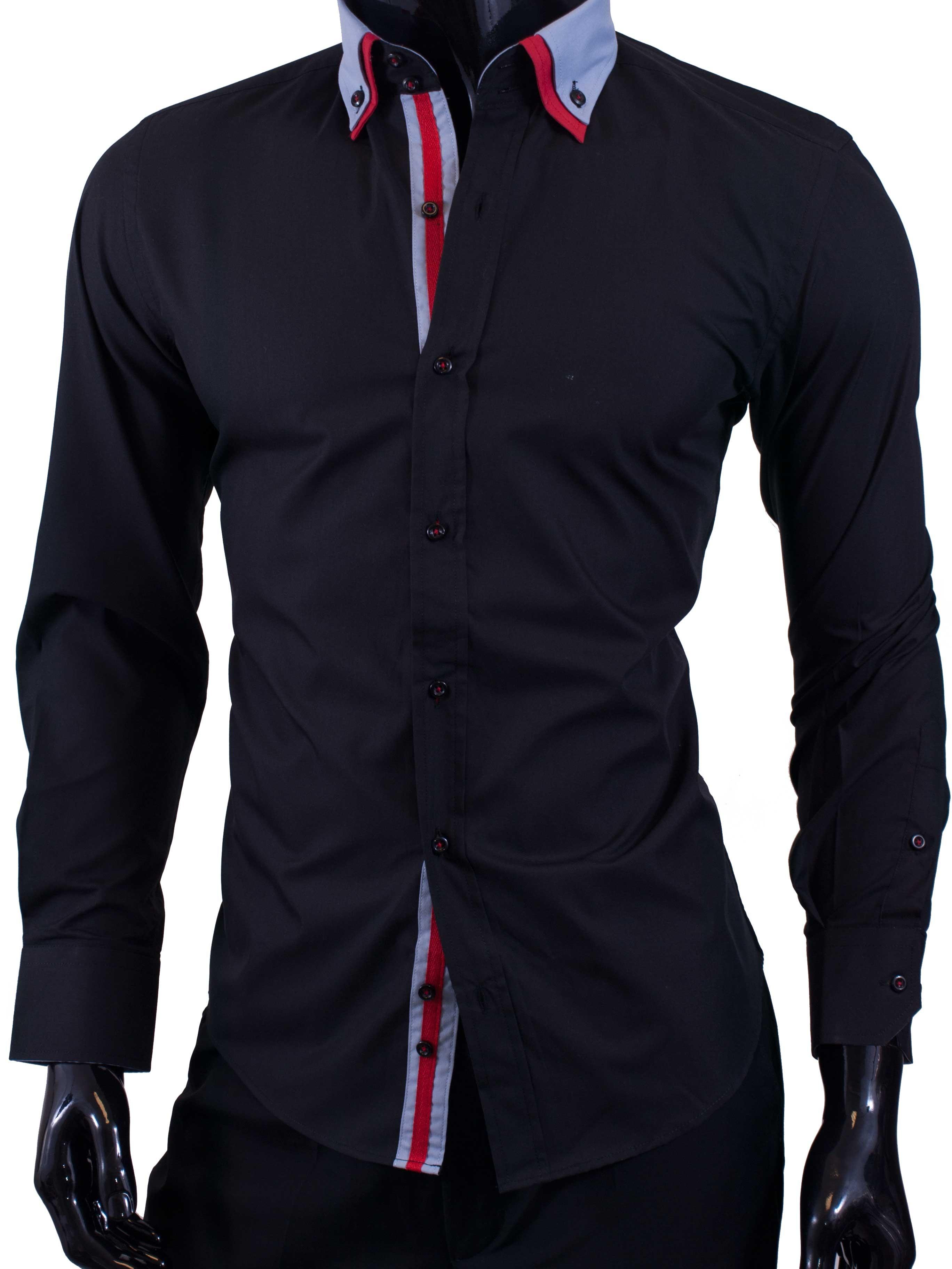 Pánské košile Egoman černá se světle modrým límečkem