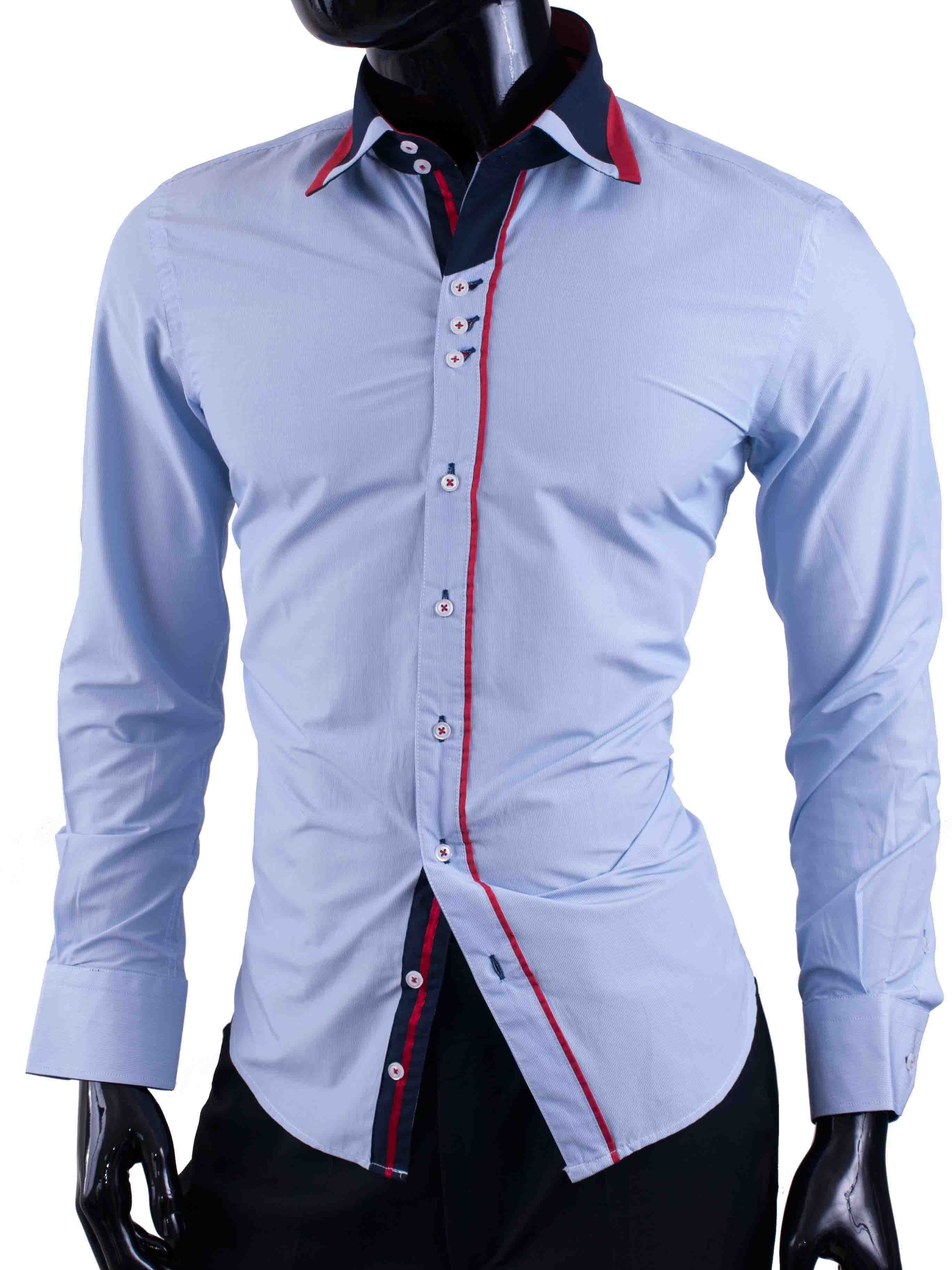 Pánské košile Egoman s velice jemnými modrými proužky