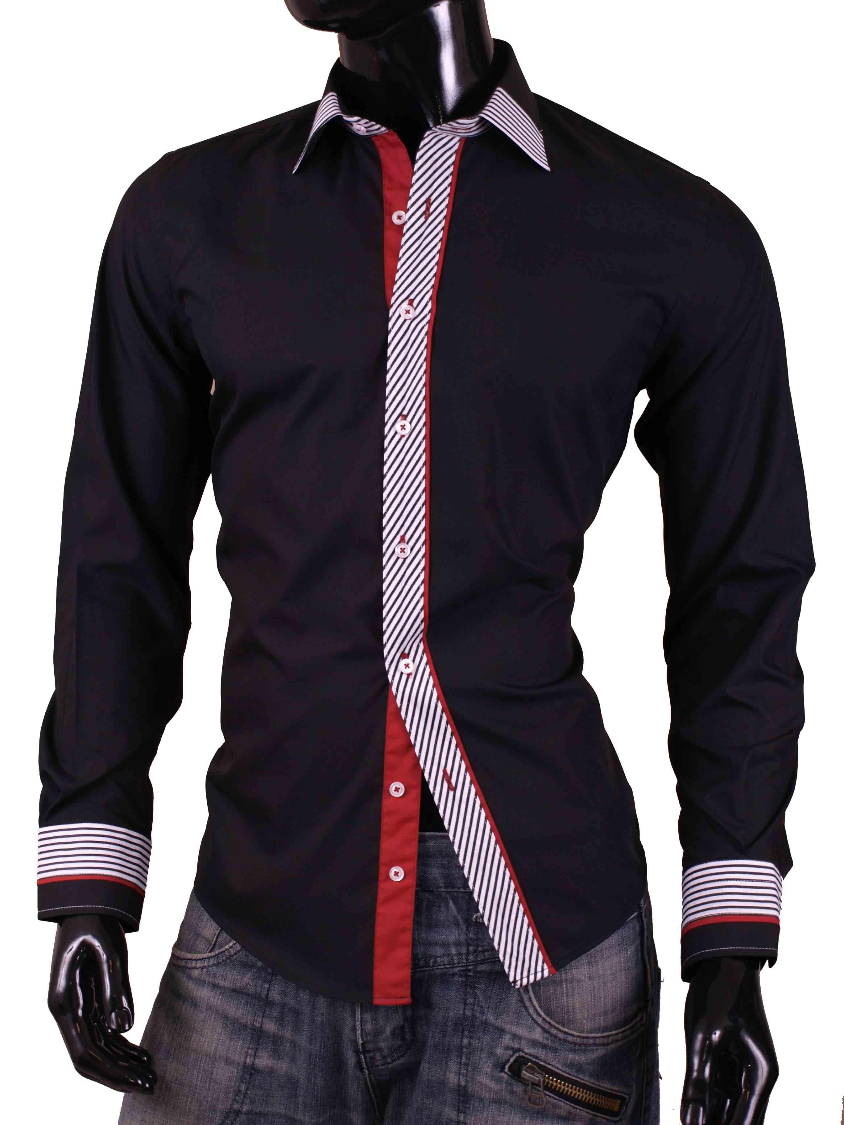 Pánské košile Egoman černá s bíločervenými prvky