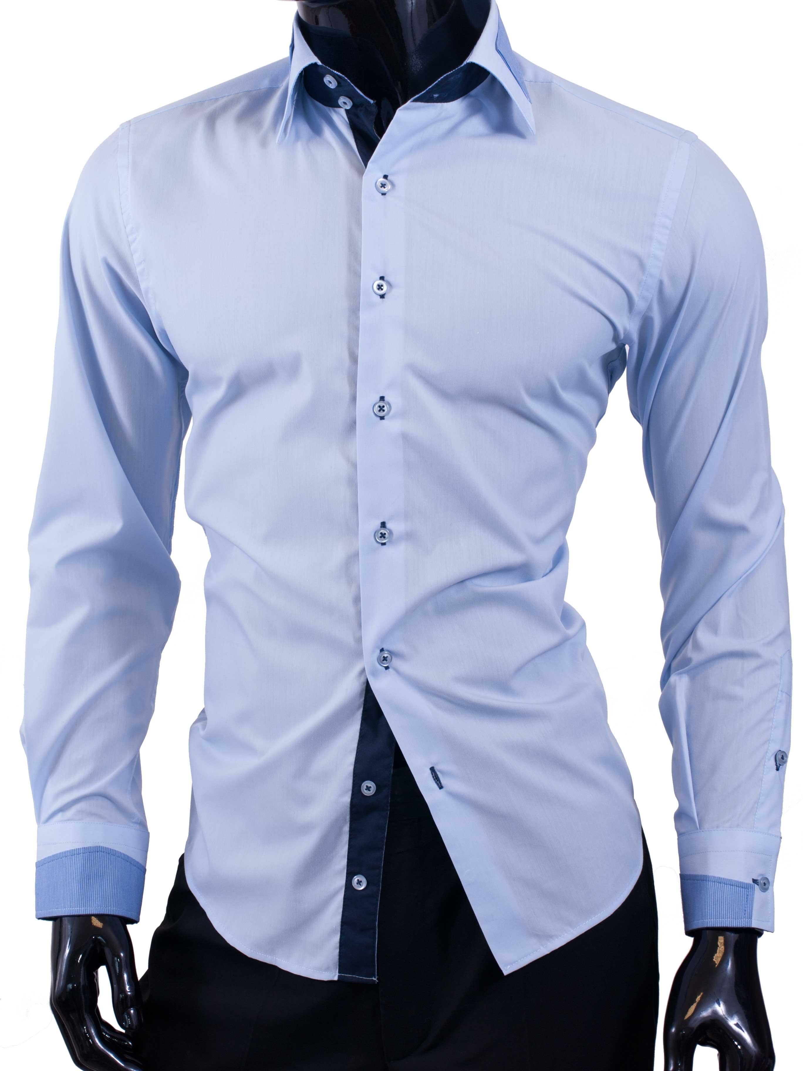 Pánské košile Egoman blankytná jednobarevná