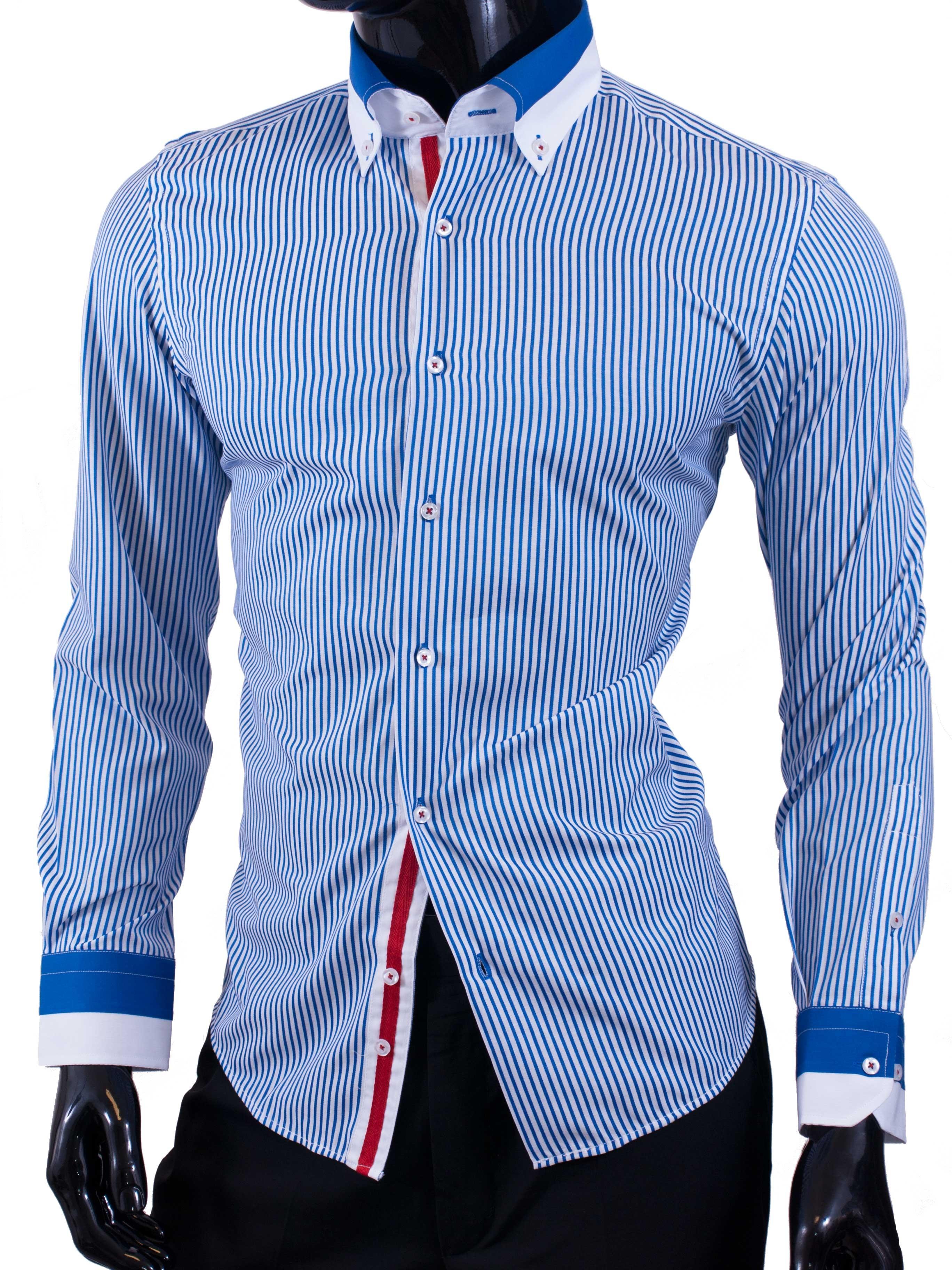 Pánské košile Egoman bílá se světle modrými proužky