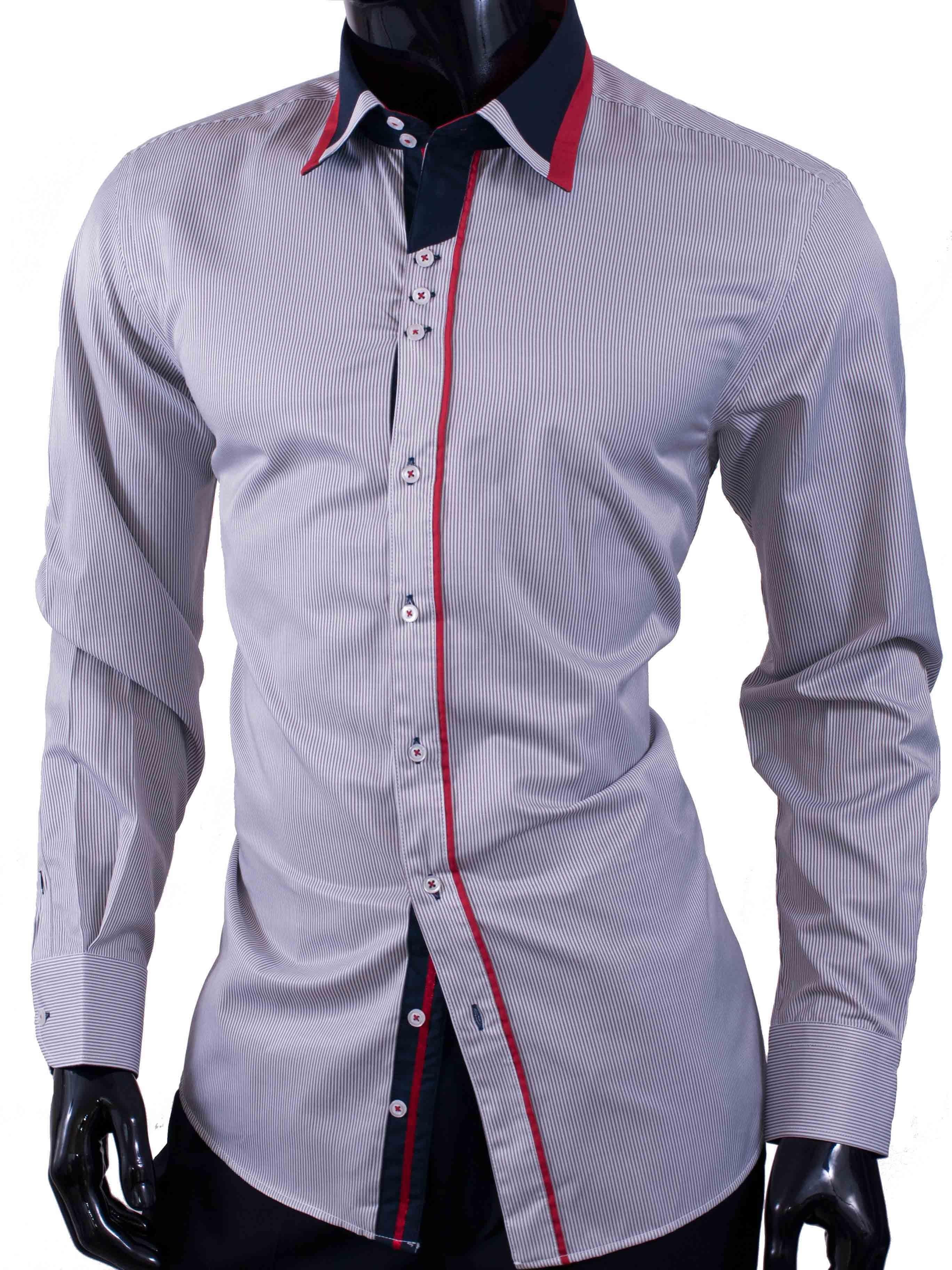 Pánské košile Egoman s bílo béžovými proužky