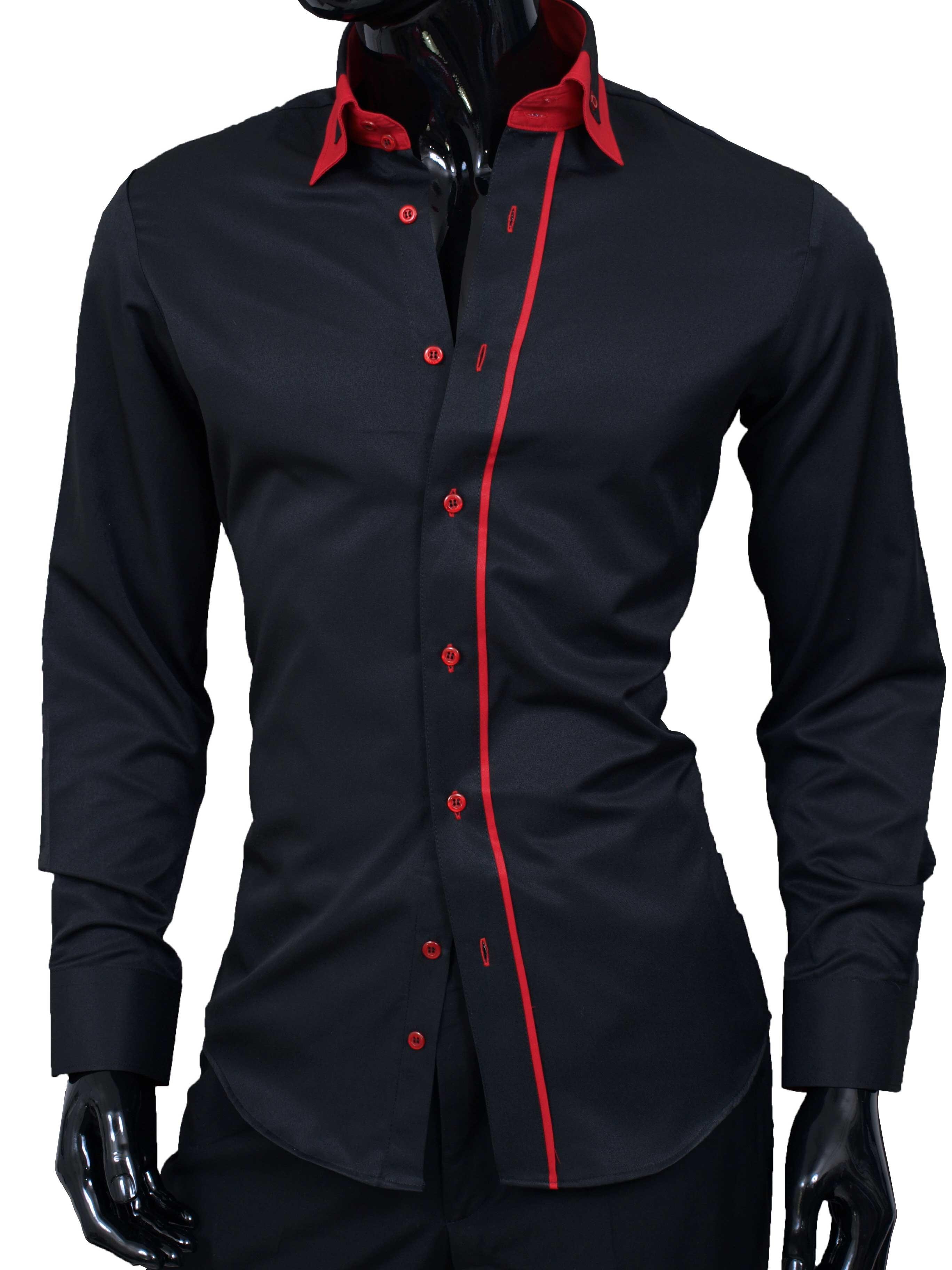 Pánská košile Adriano černá s červenými dopňky