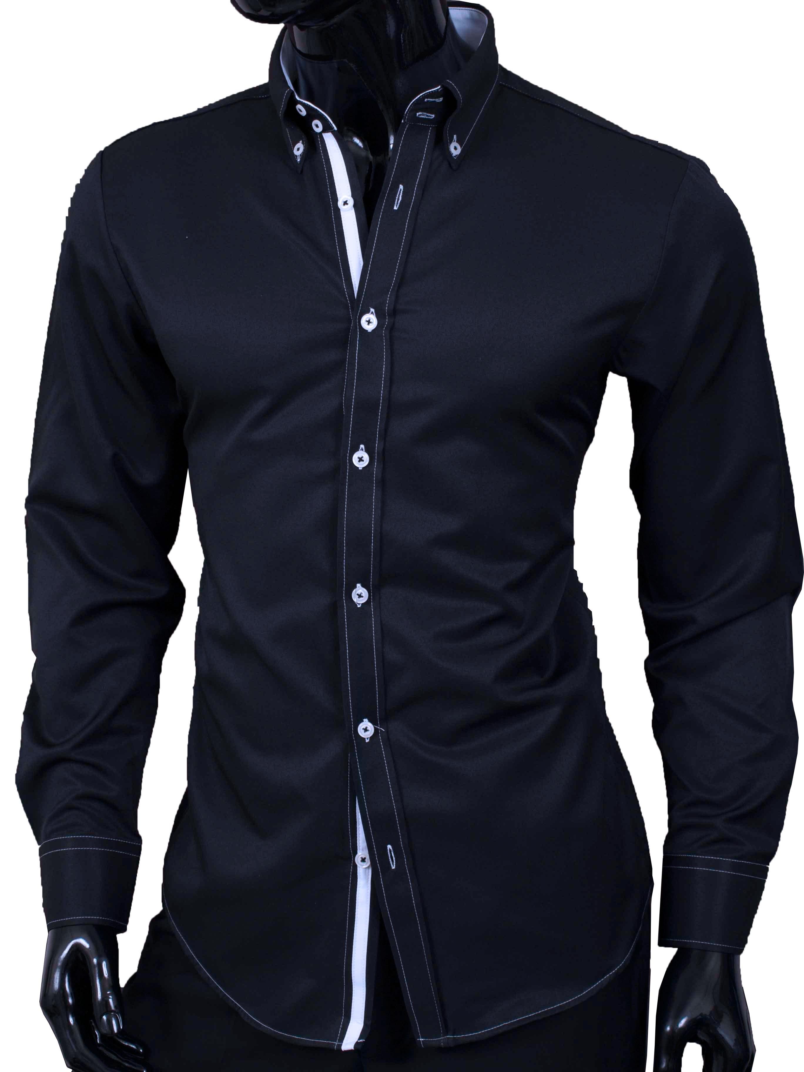 Pánská košile Adriano černá s bílým prošíváním