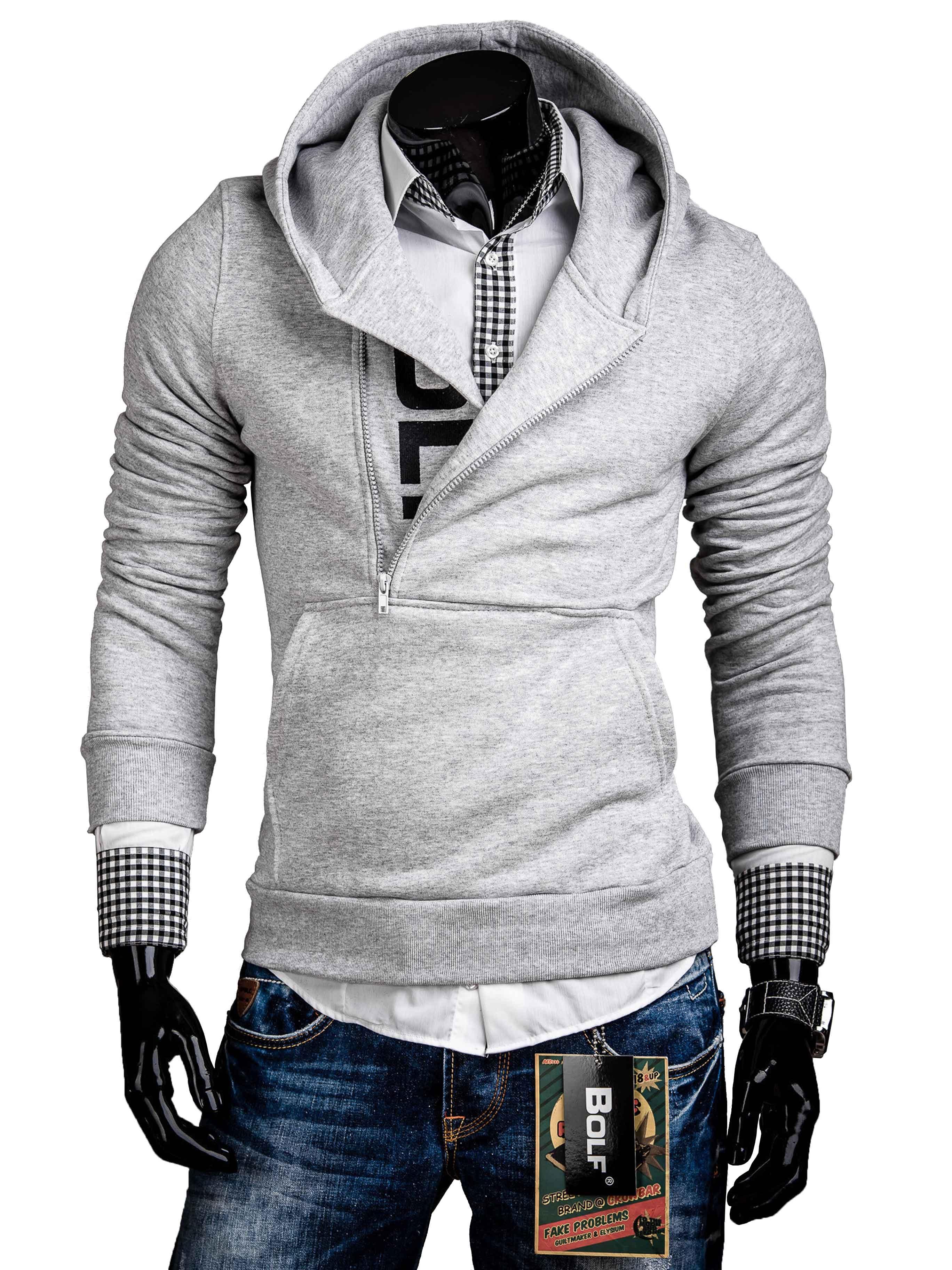 Pánská mikina šedá s kapucí