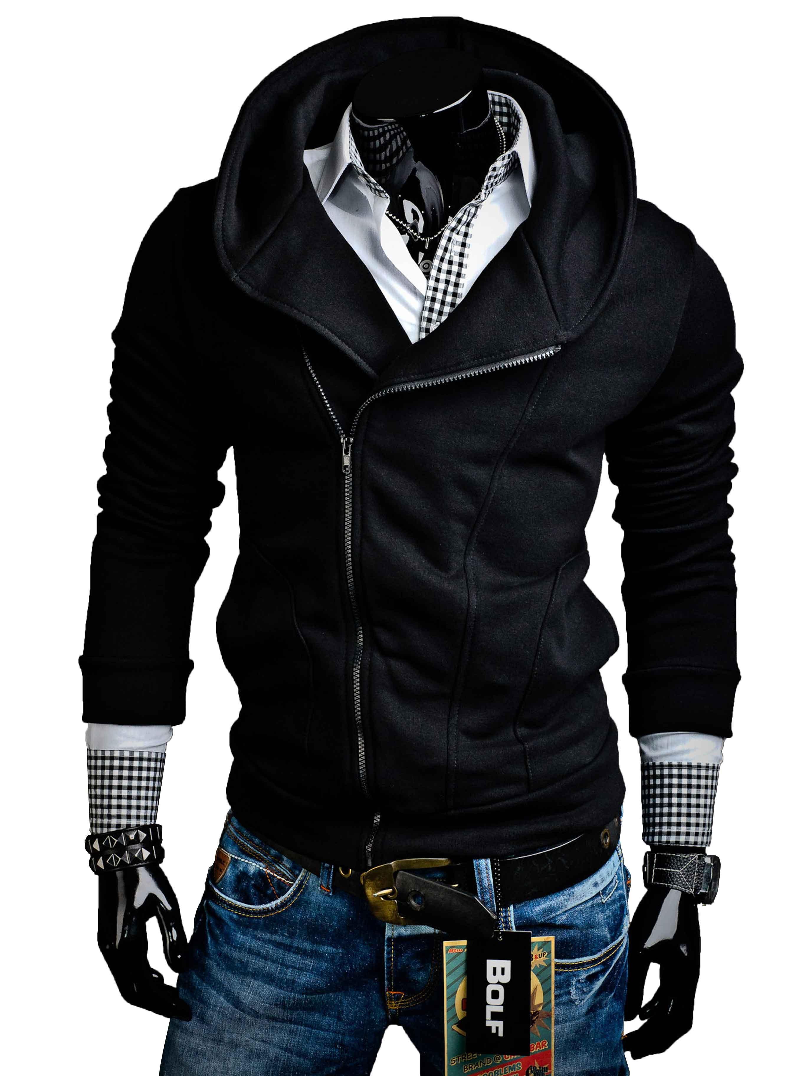 Pánská mikina se zipem a kapucí černá