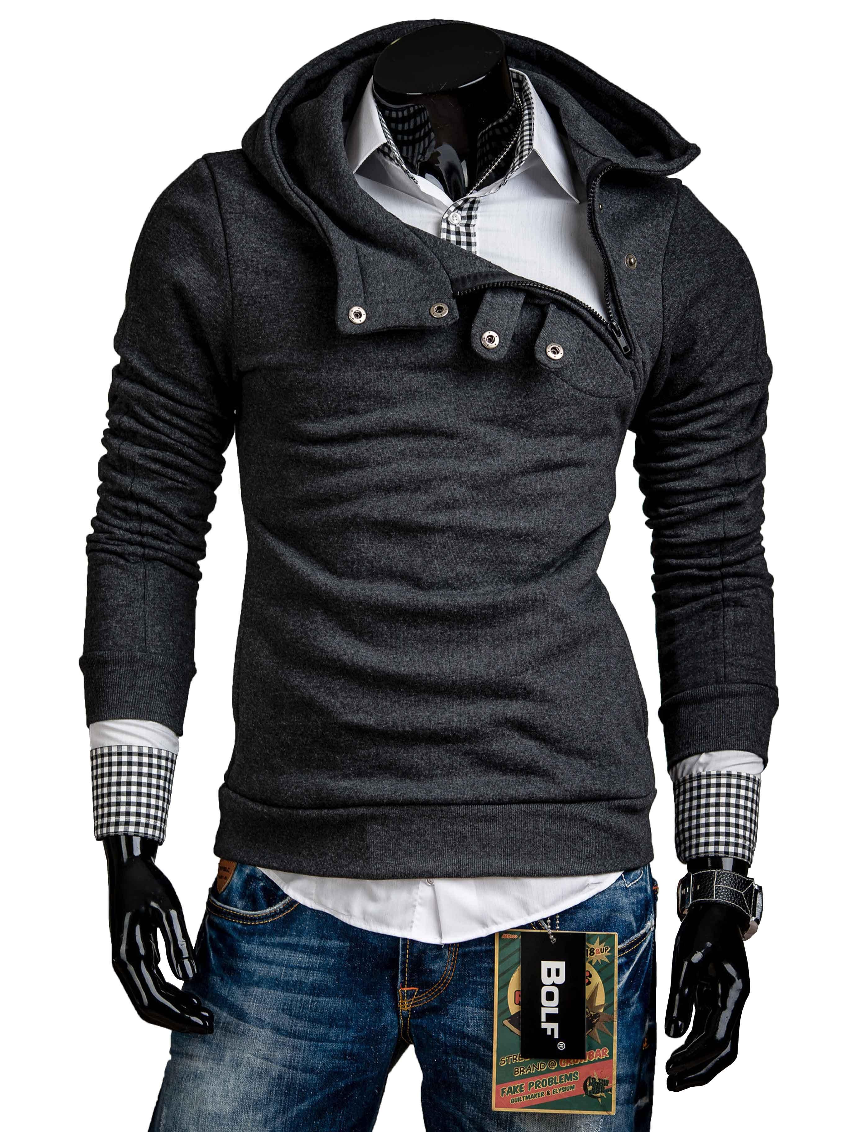 Pánská mikina s bočním zipem a cvočky grafitová - kvalitní oblečení ... f6f0f33e4a